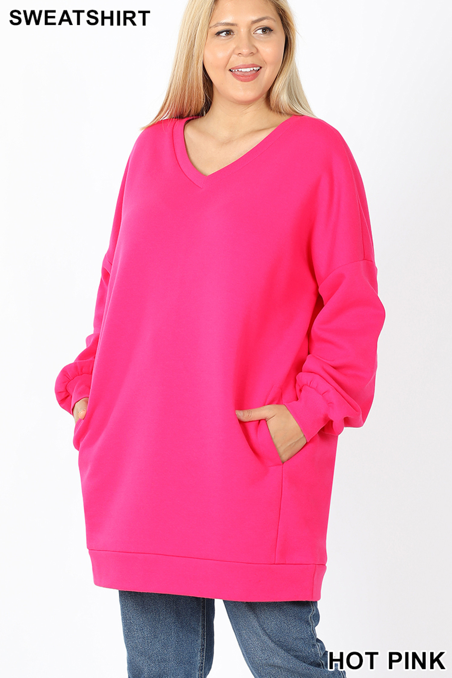 Front image of  Hot Pink Oversized V-Neck Longline Plus Size Sweatshirt with Pockets