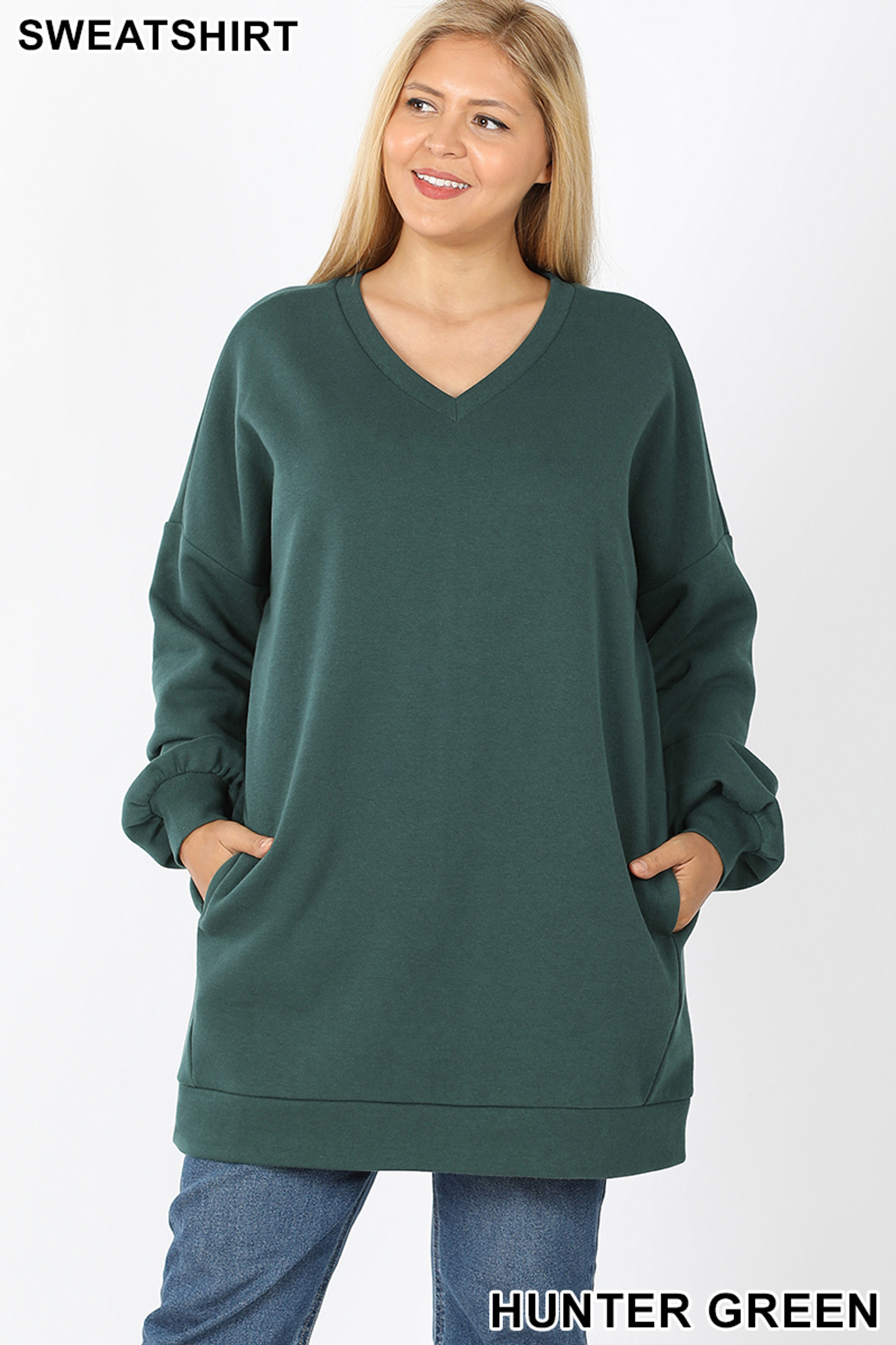 Front image of Hunter Green Oversized V-Neck Longline Plus Size Sweatshirt with Pockets