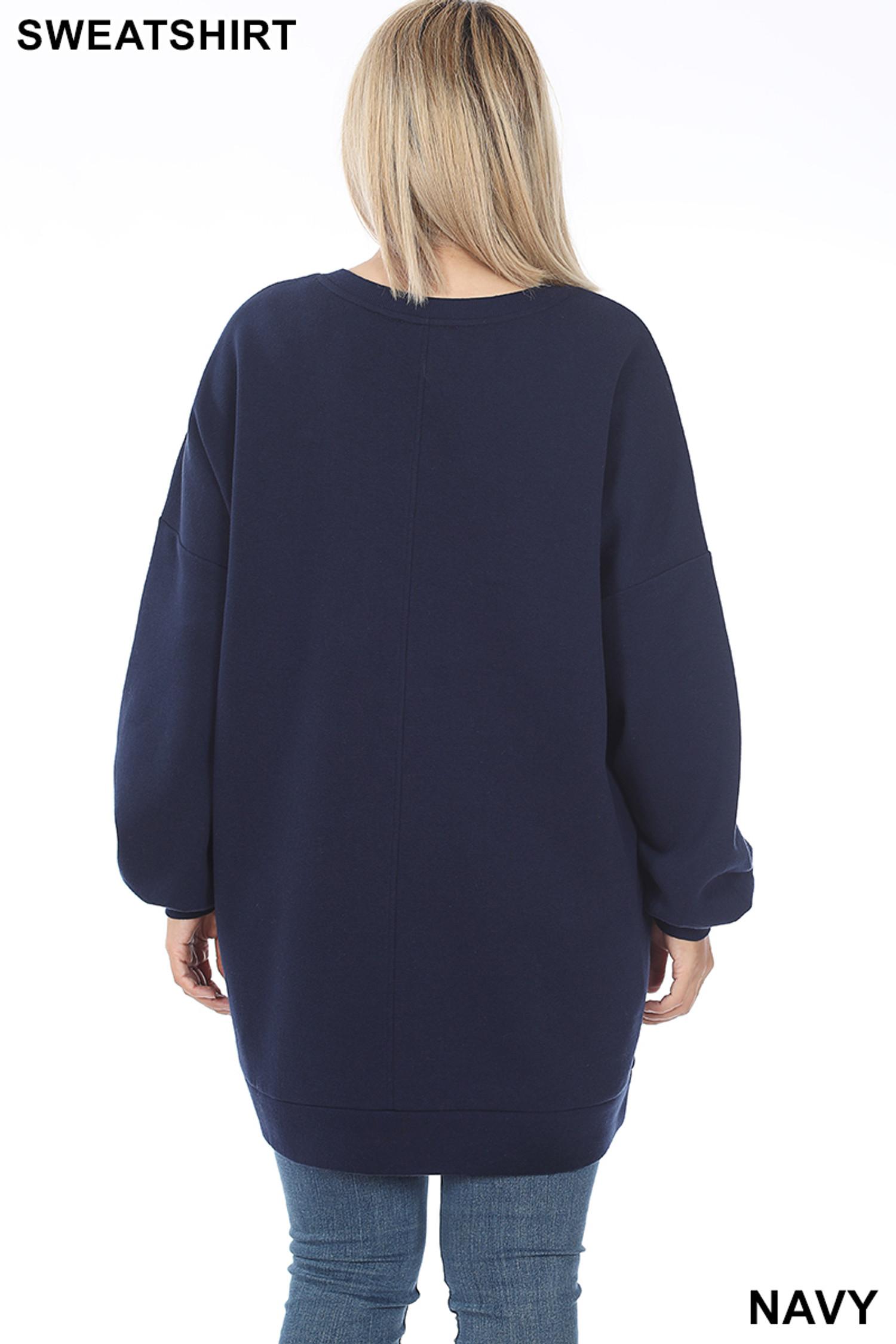 Back image of Navy Oversized V-Neck Longline Plus Size Sweatshirt with Pockets