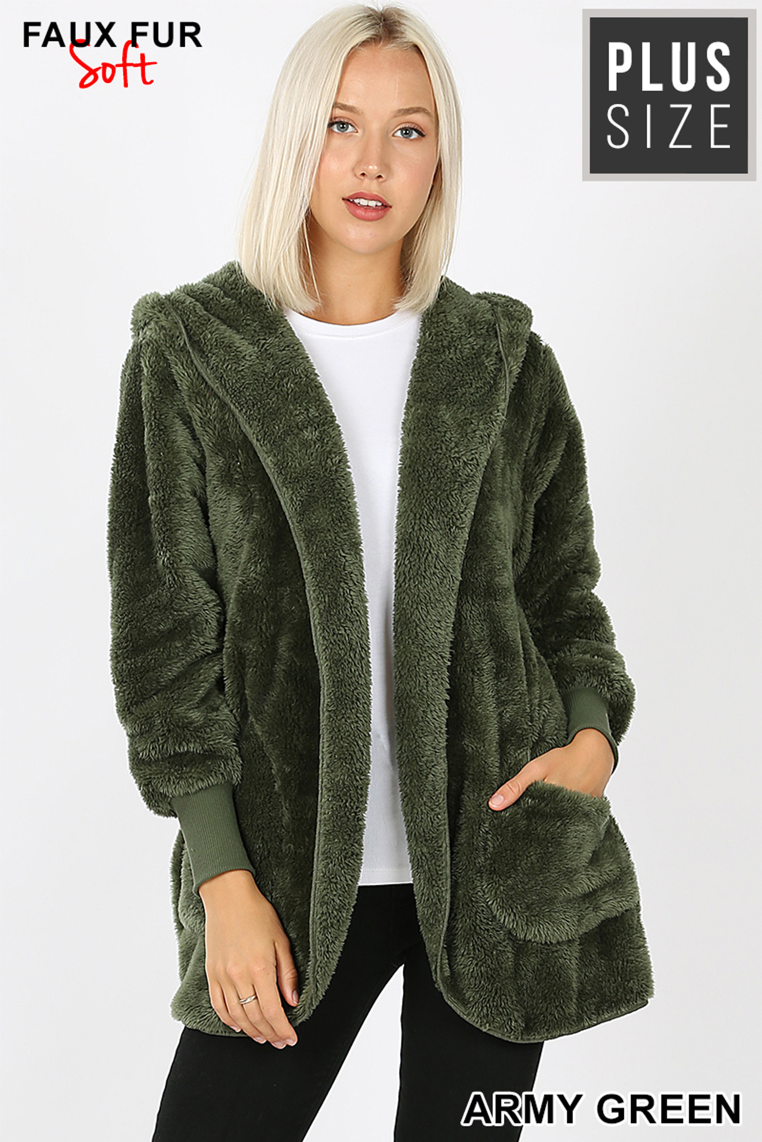Front Image of Army Green Faux Fur Hooded Cocoon Plus Size Jacket with Pockets