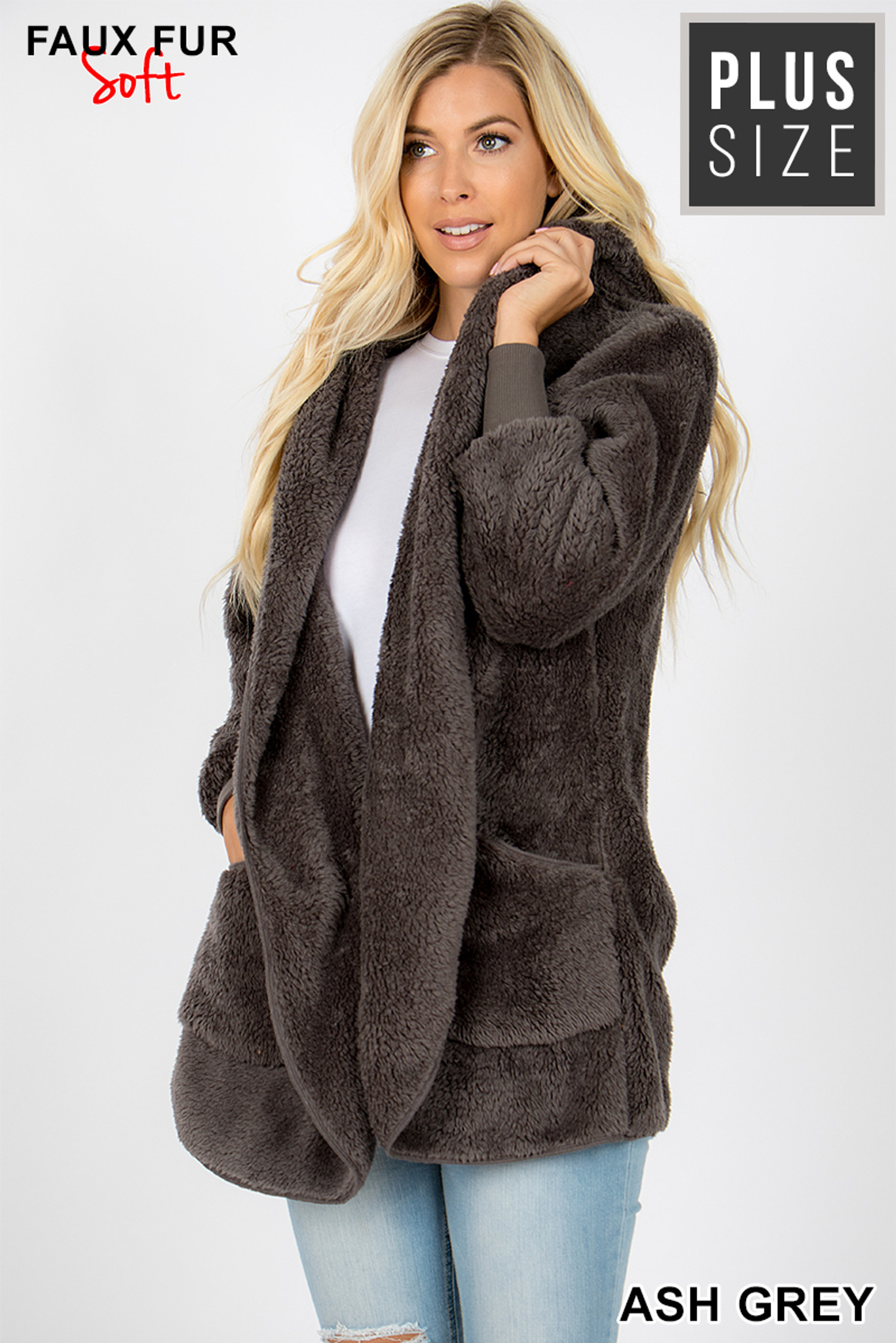 45 Degree image of Ash Grey Faux Fur Hooded Cocoon Plus Size Jacket with Pockets