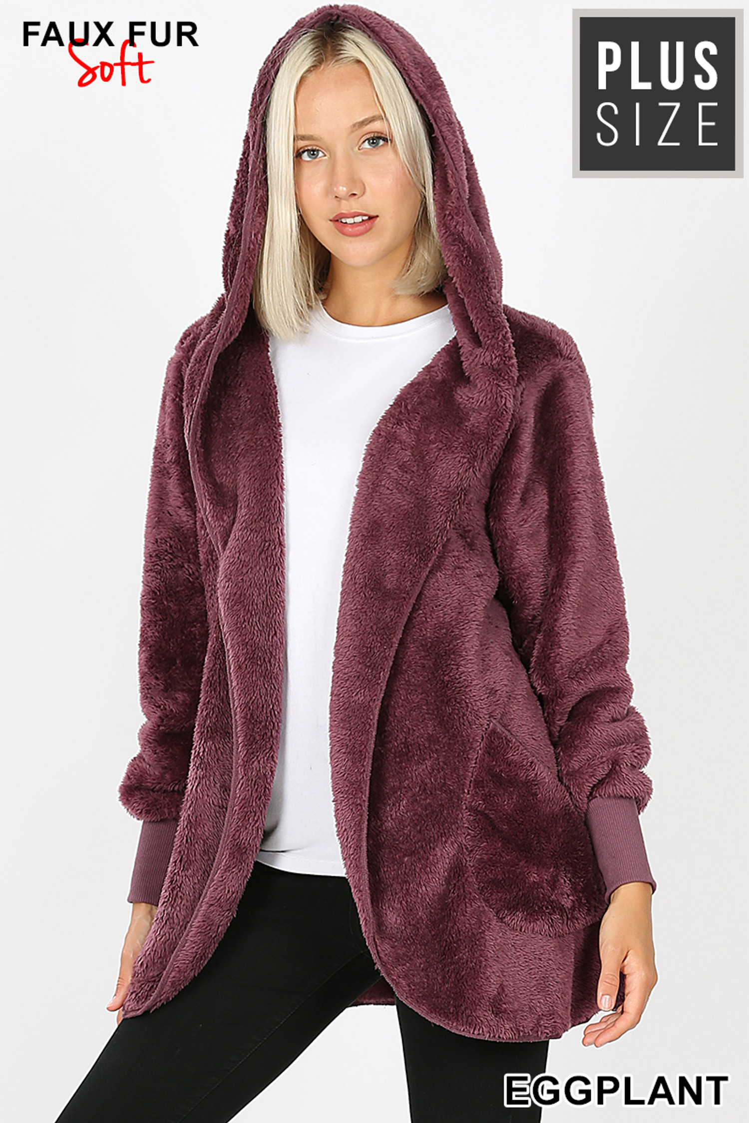 Front Image of Eggplant Faux Fur Hooded Cocoon Plus Size Jacket with Pockets showing hood up