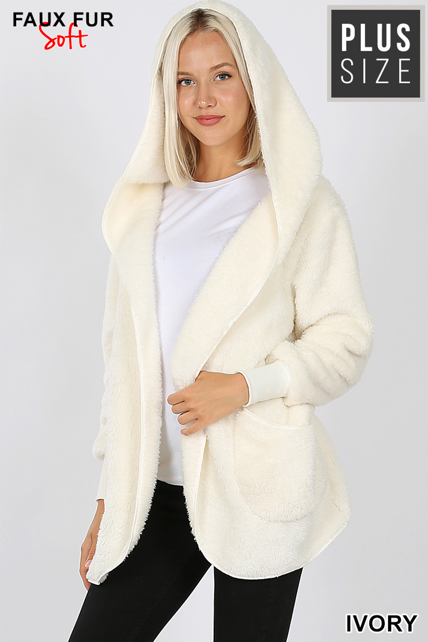 Front Image of Ivory Faux Fur Hooded Cocoon Plus Size Jacket with Pockets showing hood up