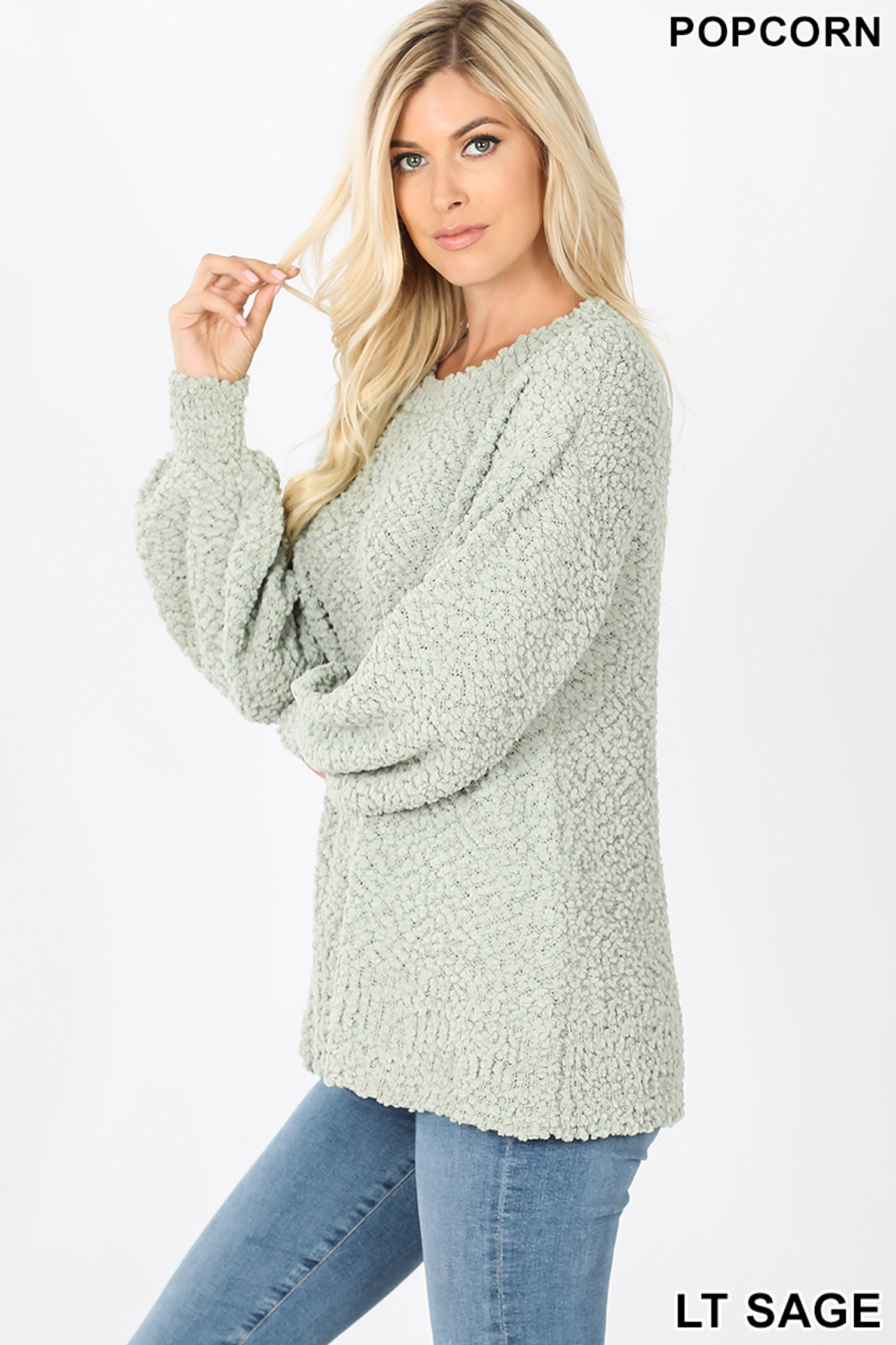 Left side image of Sage Popcorn Balloon Sleeve Round Neck Pullover Sweater
