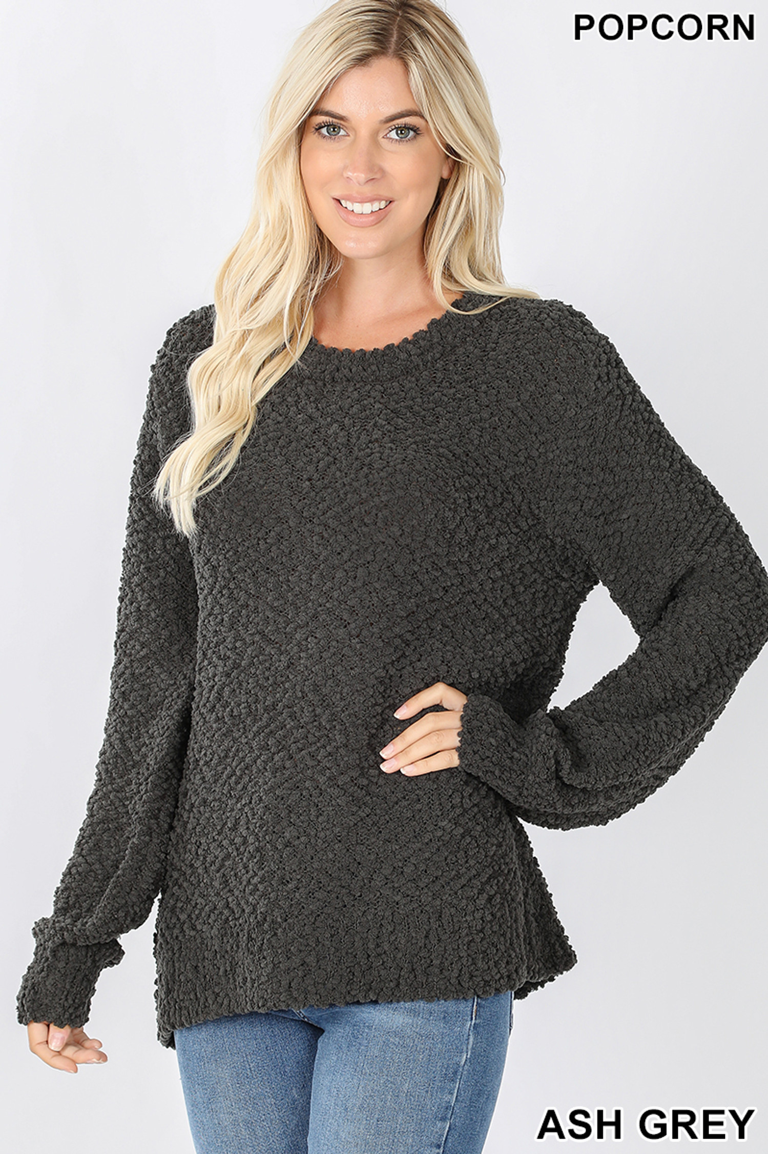Front image of Ash Grey Popcorn Balloon Sleeve Round Neck Pullover Sweater