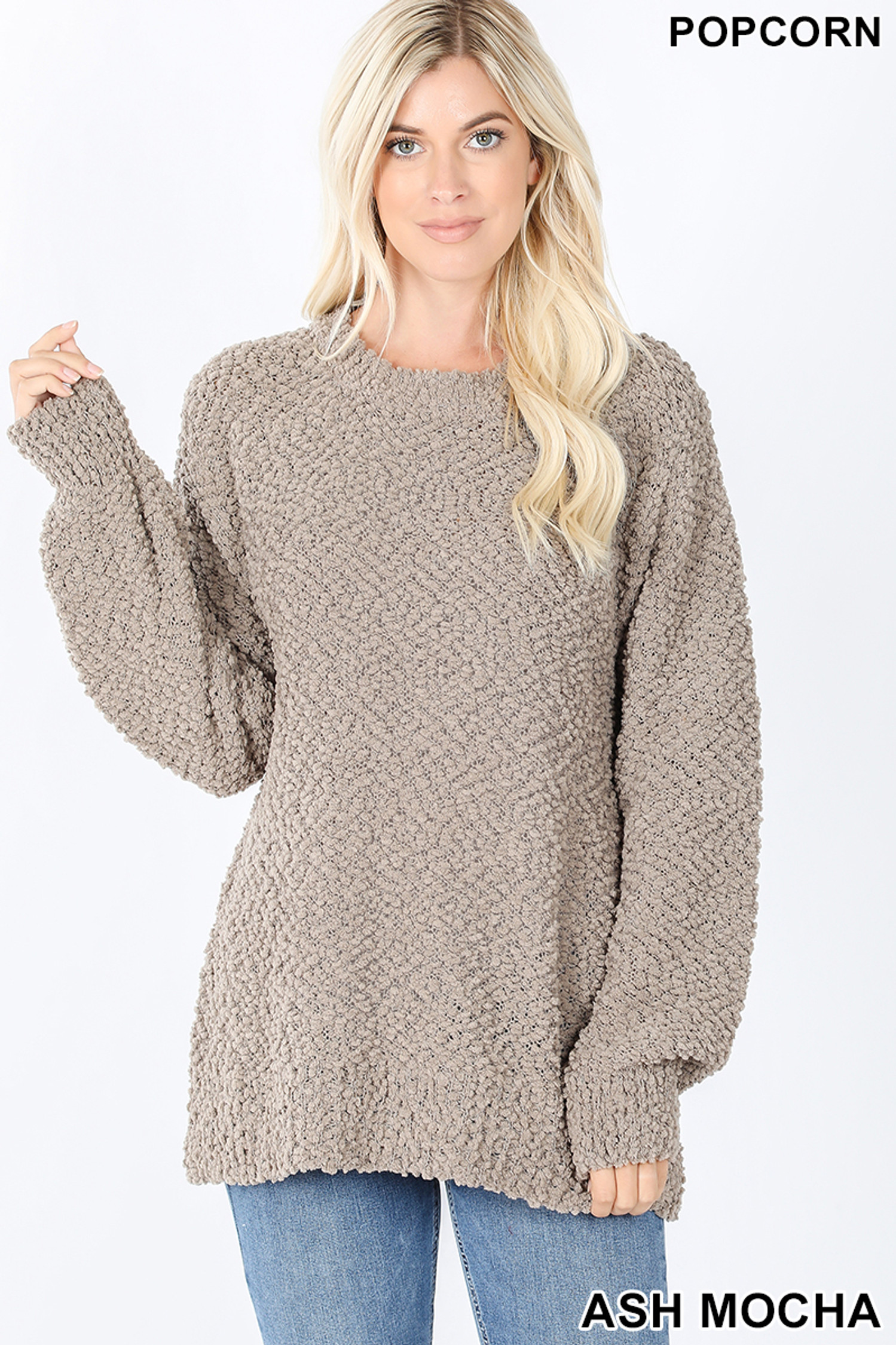 Front image of Ash Mocha Popcorn Balloon Sleeve Round Neck Pullover Sweater
