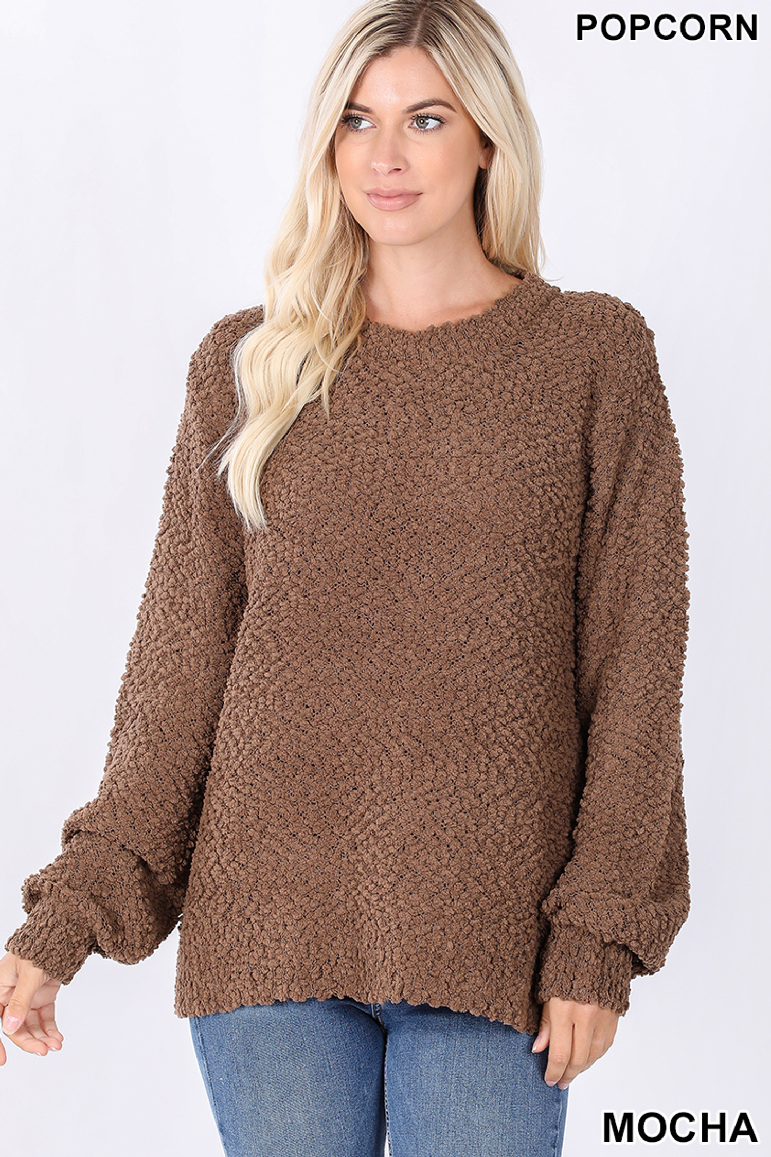 Front image of Mocha Popcorn Balloon Sleeve Round Neck Pullover Sweater