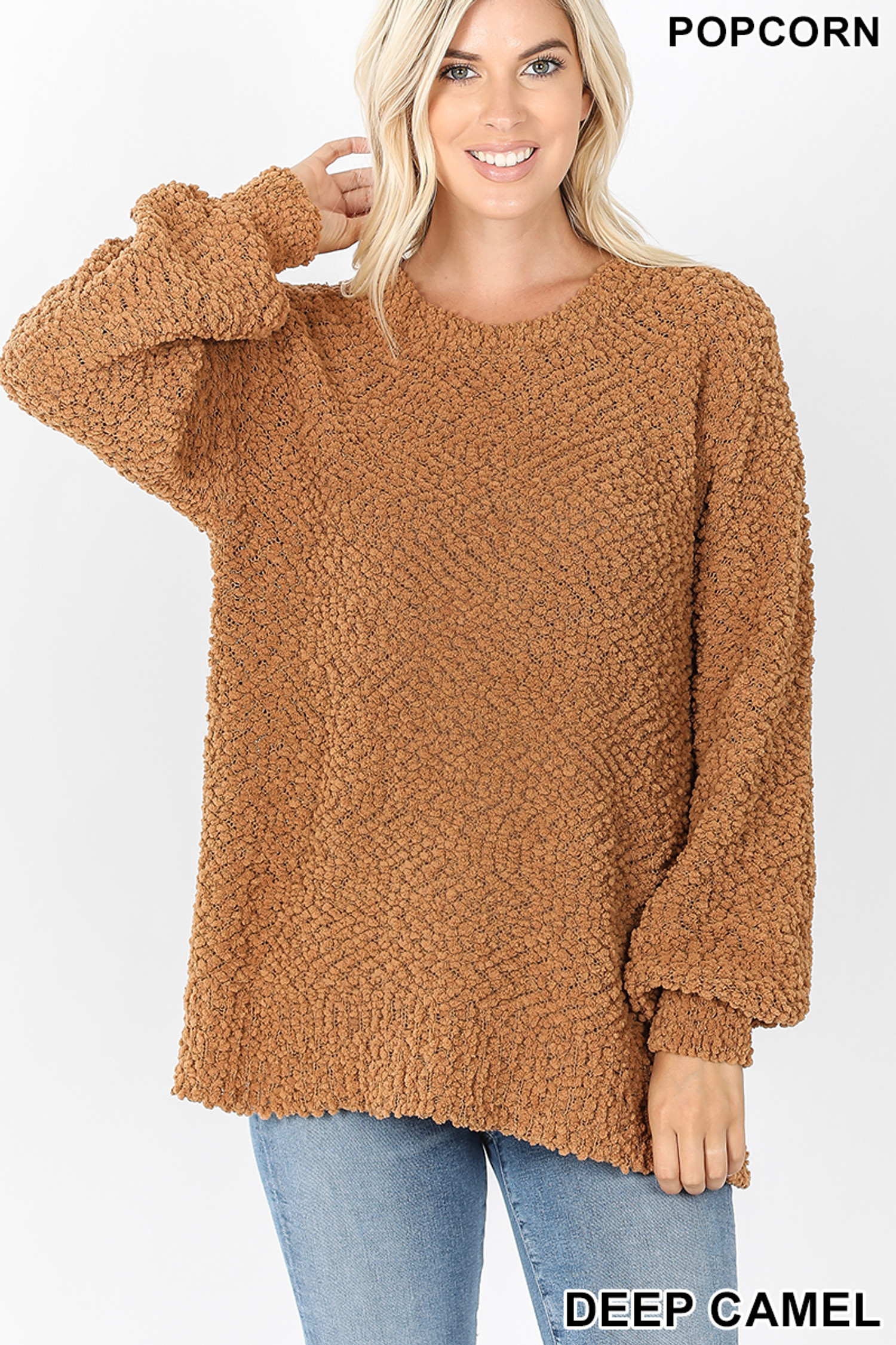 Front image of Deep Camel Popcorn Balloon Sleeve Round Neck Pullover Sweater