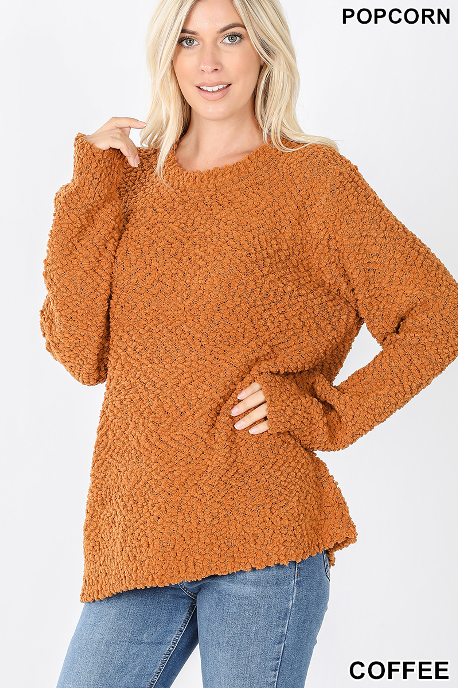 Front image of Coffee Popcorn Balloon Sleeve Round Neck Pullover Sweater