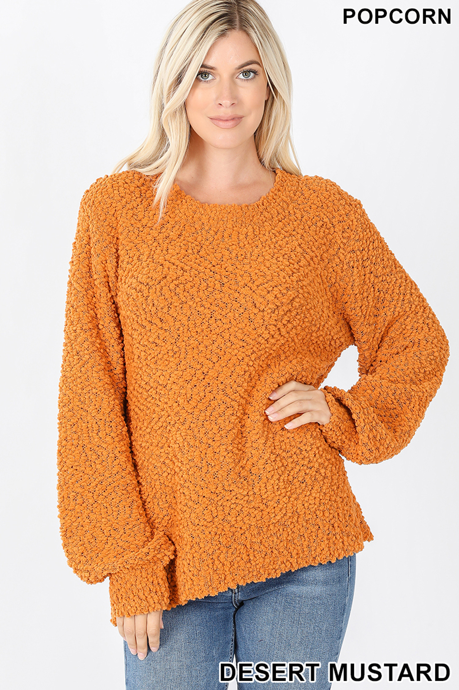 Front image of Desert Mustard Popcorn Balloon Sleeve Round Neck Pullover Sweater