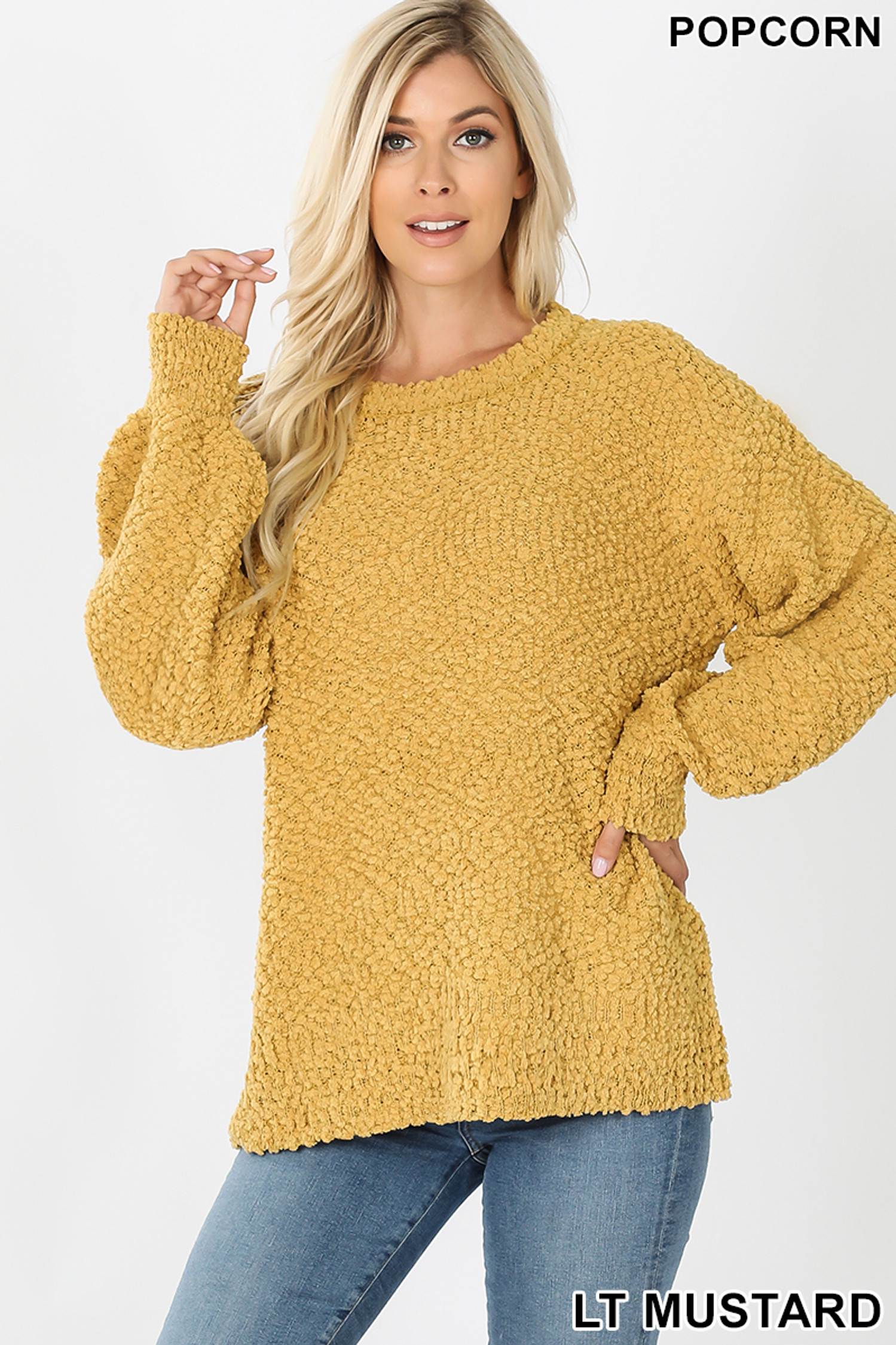 Front image of Light Mustard Popcorn Balloon Sleeve Round Neck Pullover Sweater