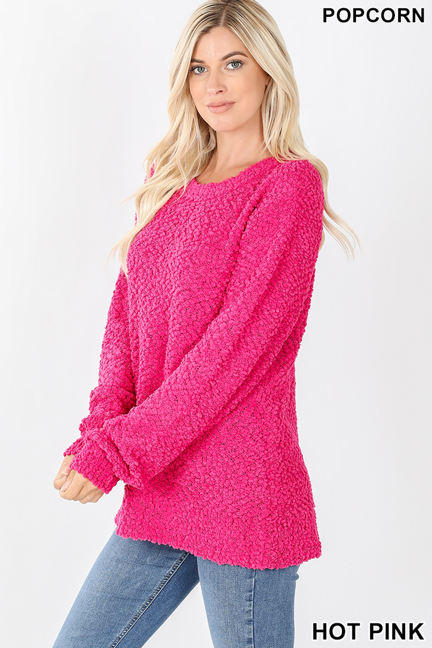 Left side image of Hot Pink Popcorn Balloon Sleeve Round Neck Pullover Sweater