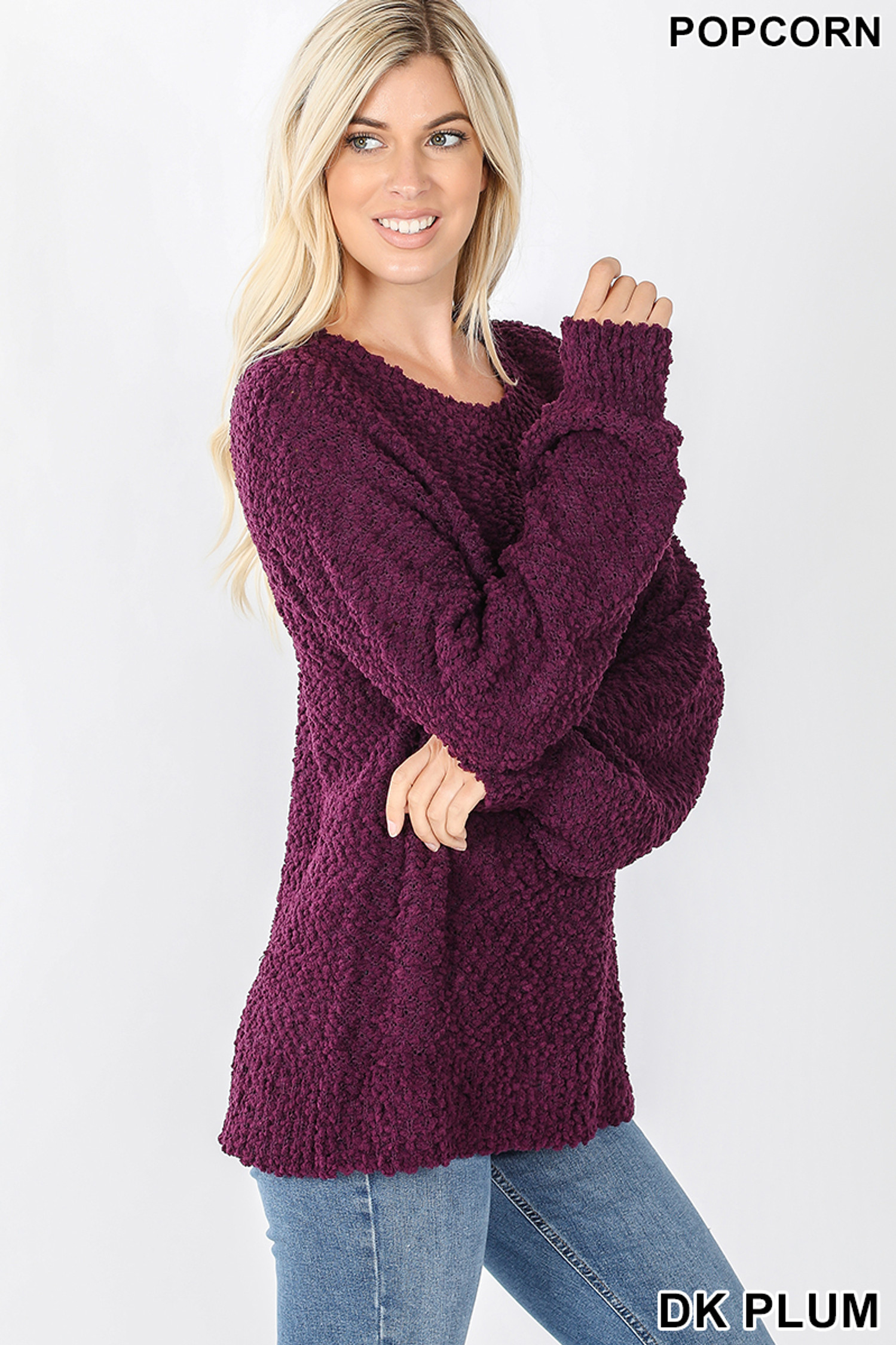 Right side image of Dark Plum Popcorn Balloon Sleeve Round Neck Pullover Sweater
