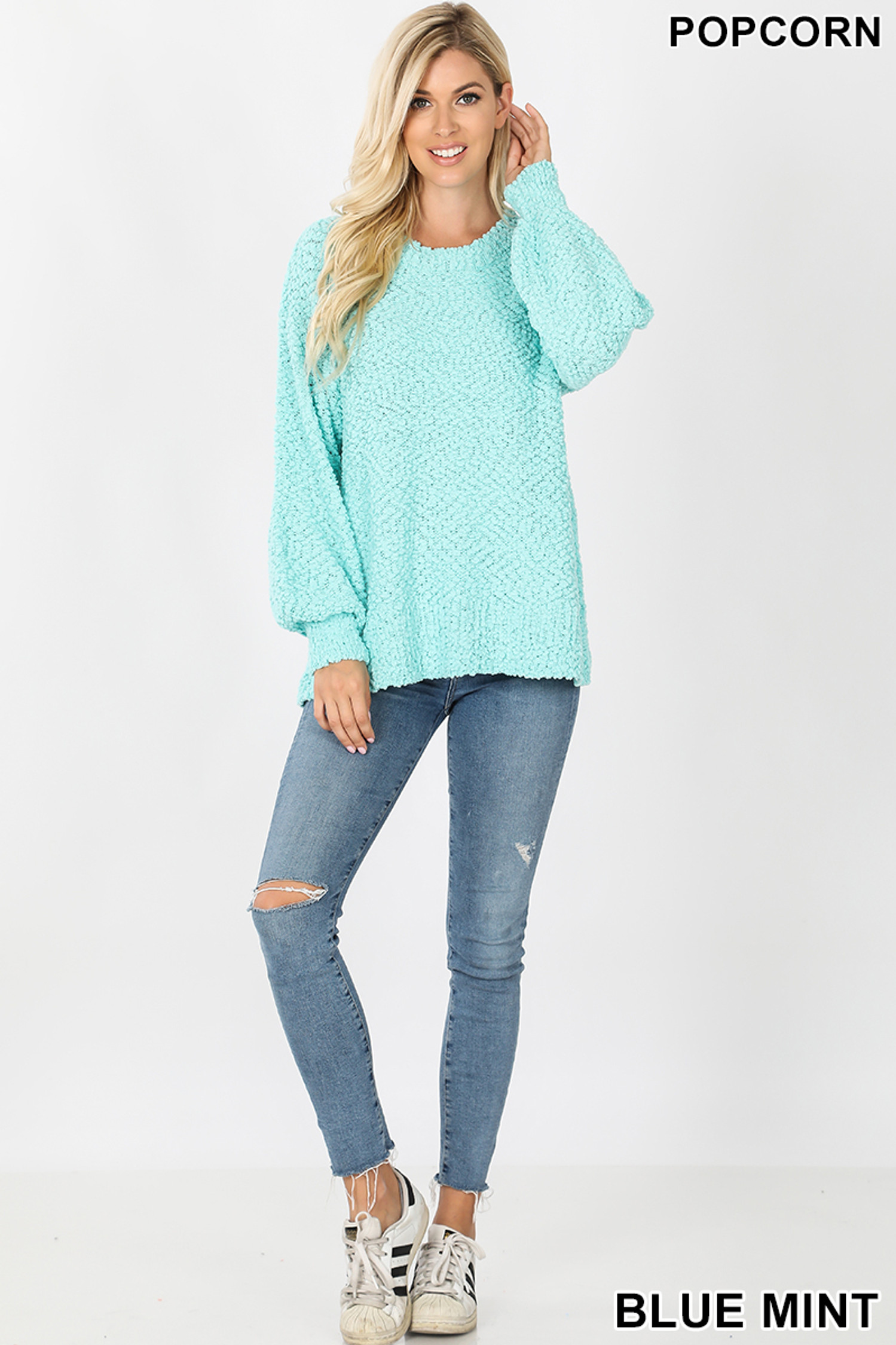 Full body image of Mint Popcorn Balloon Sleeve Round Neck Pullover Sweater