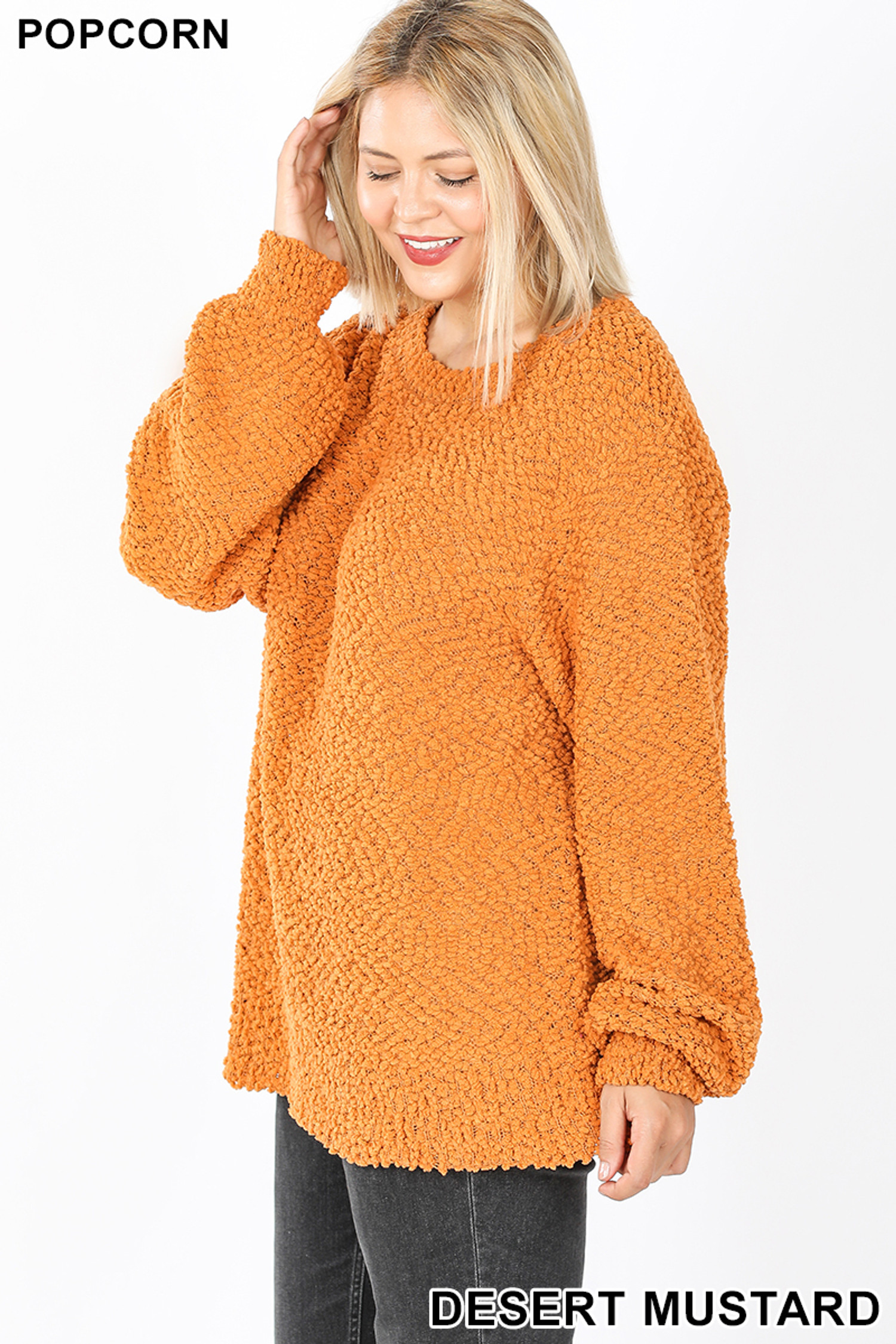 Left side image of Desert Mustard Popcorn Balloon Sleeve Round Neck Plus Size Pullover Sweater