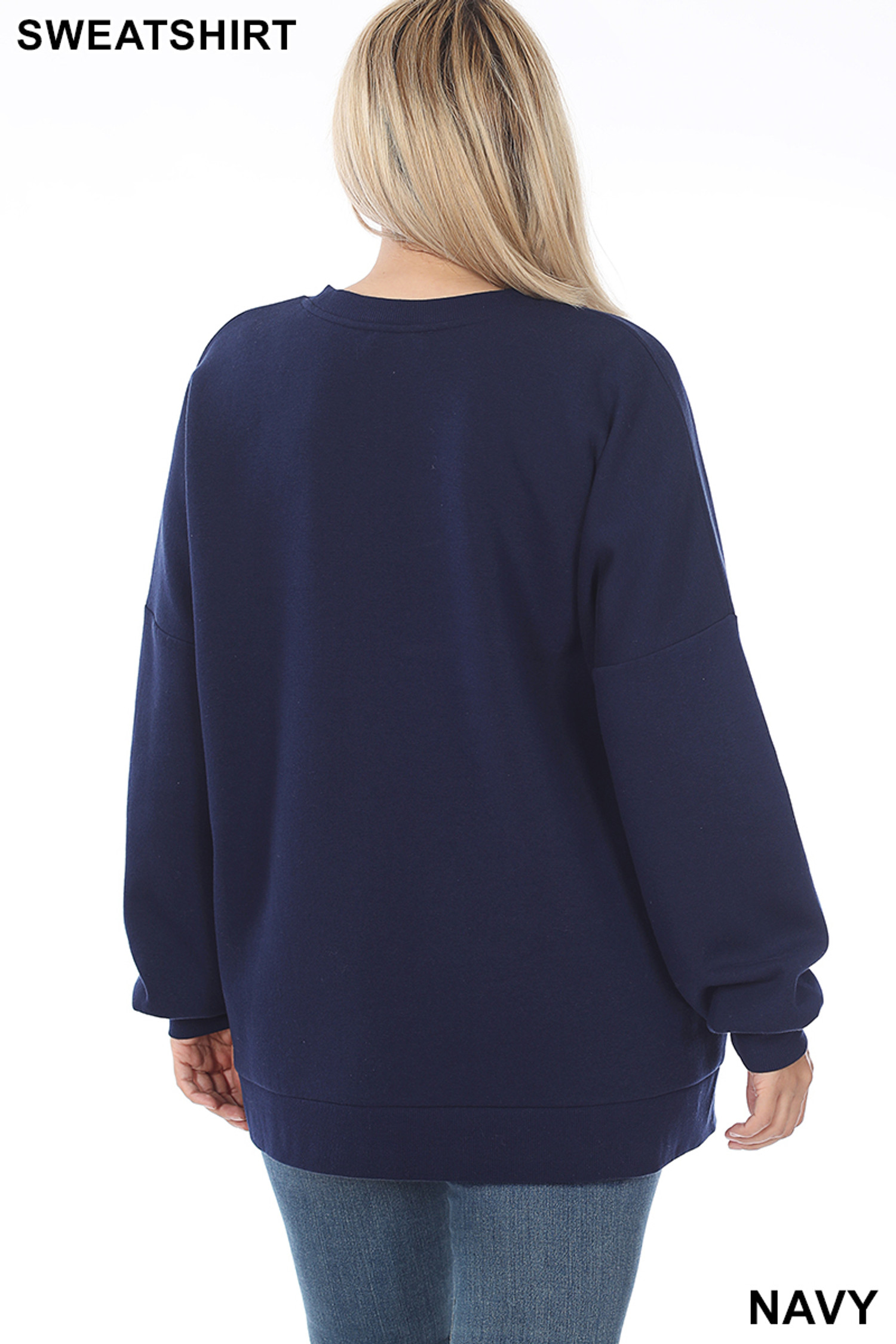 Back view of Navy Round Neck Hi-Low Hem Plus Size Sweatshirt