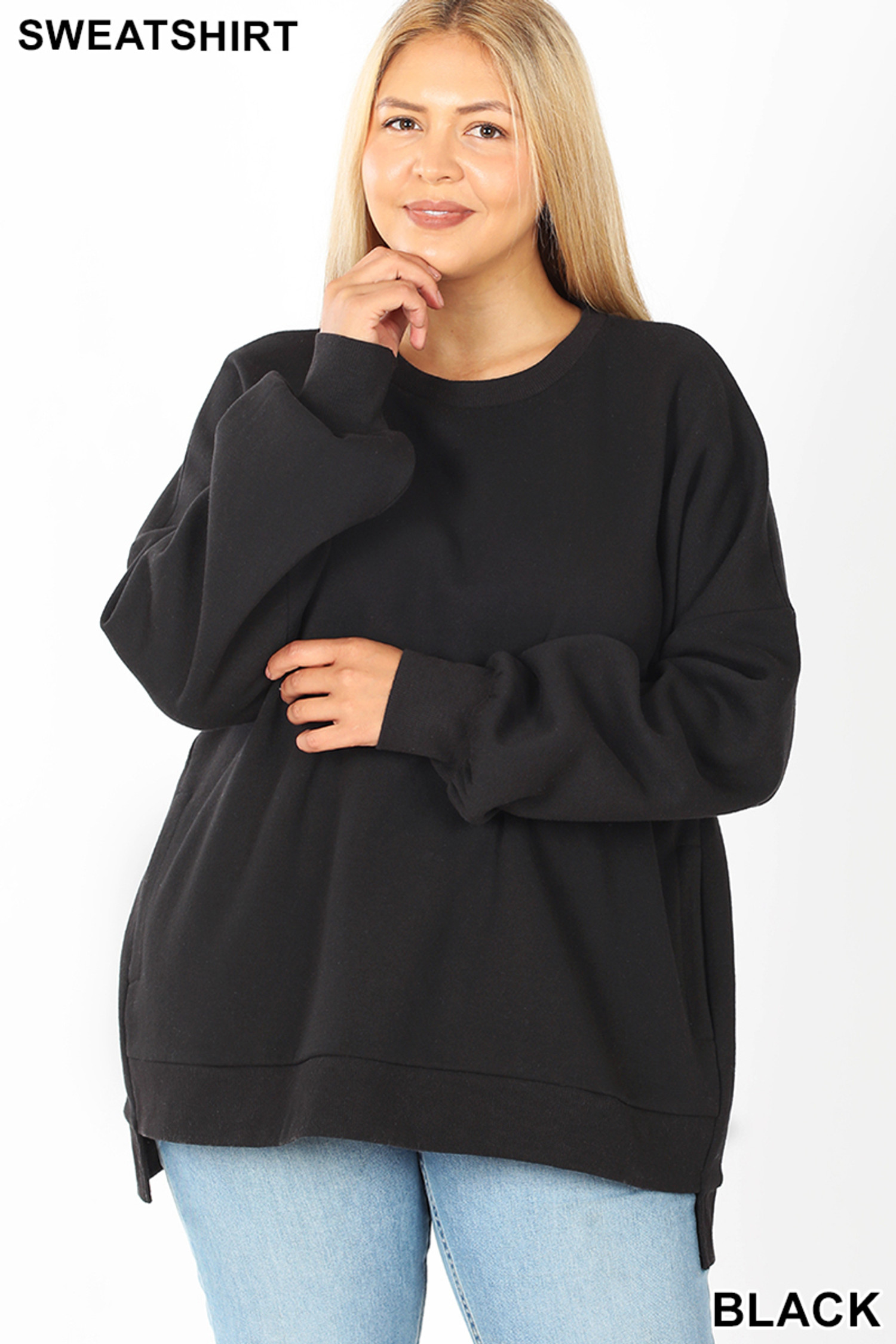 Front view of Black Round Neck Hi-Low Hem Plus Size Sweatshirt