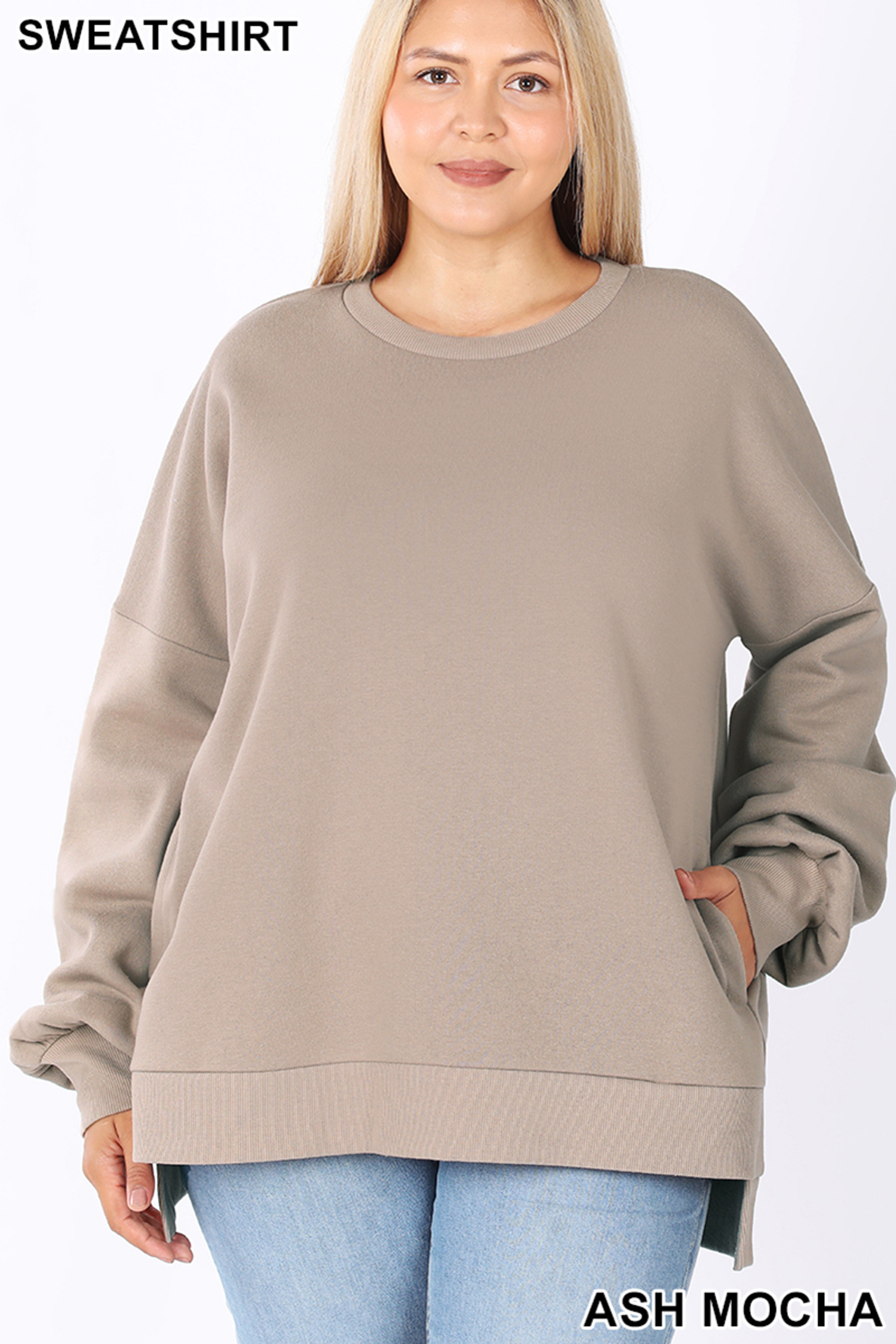 Front view of Mocha Front view of Navy Round Neck Hi-Low Hem Plus Size Sweatshirt