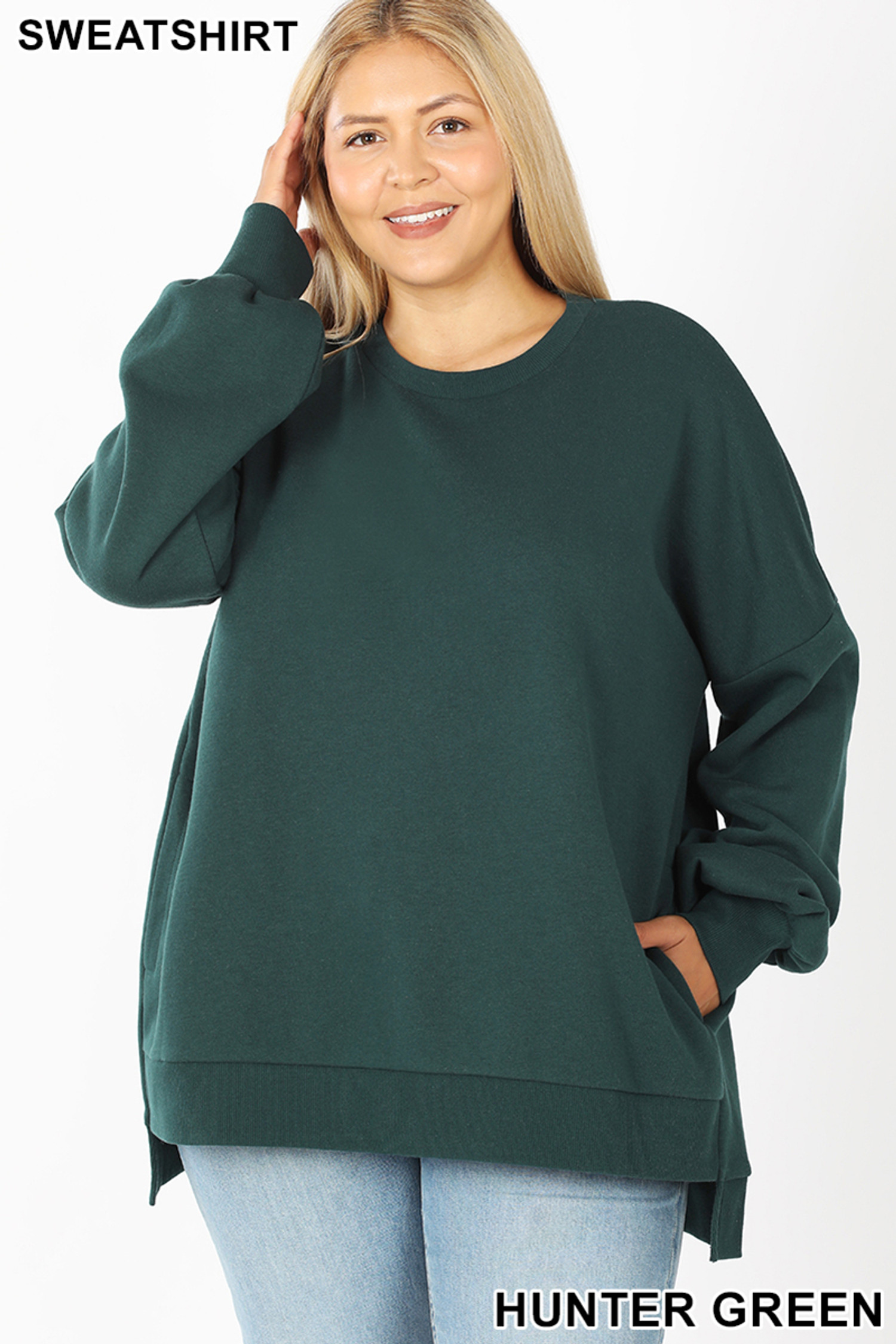 Front view of Hunter Green Round Neck Hi-Low Hem Plus Size Sweatshirt