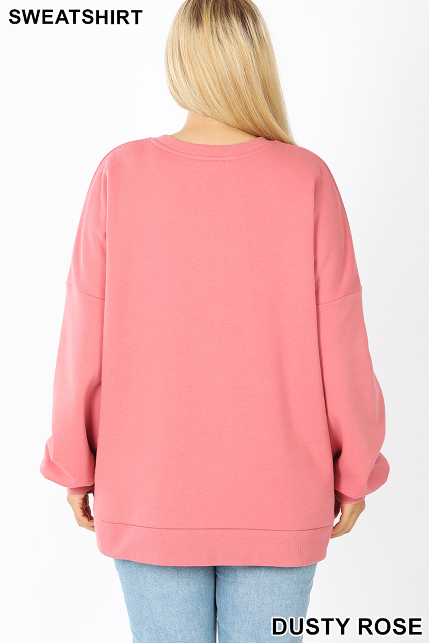 Back view of Dusty Rose Round Neck Hi-Low Hem Plus Size Sweatshirt