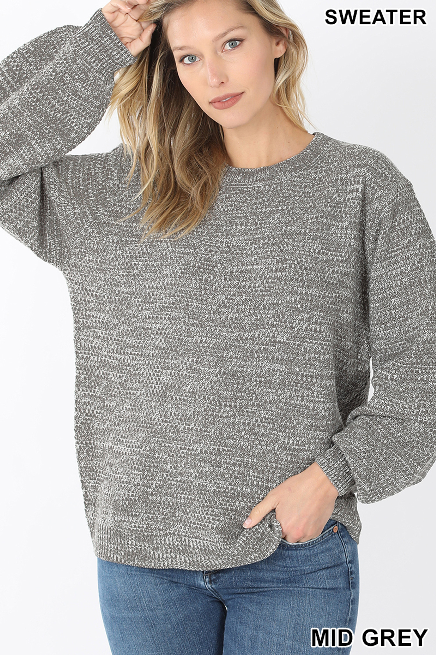 Front image of Mid Grey Balloon Sleeve Melange Sweater