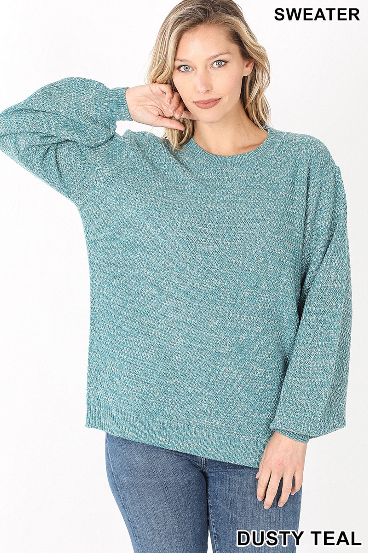 Front image of Dusty Teal Balloon Sleeve Melange Sweater