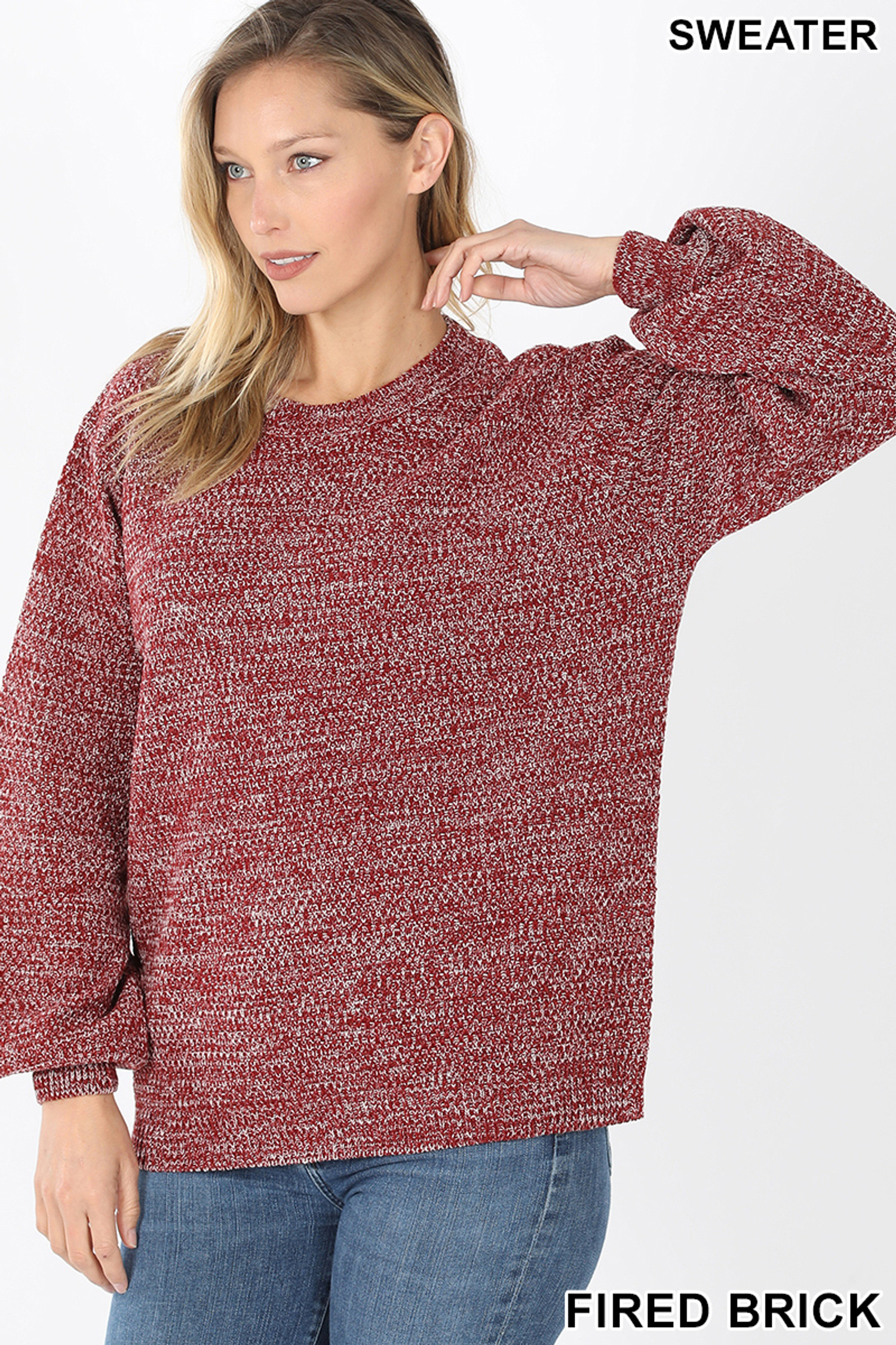 Front image of Fired Brick Balloon Sleeve Melange Sweater