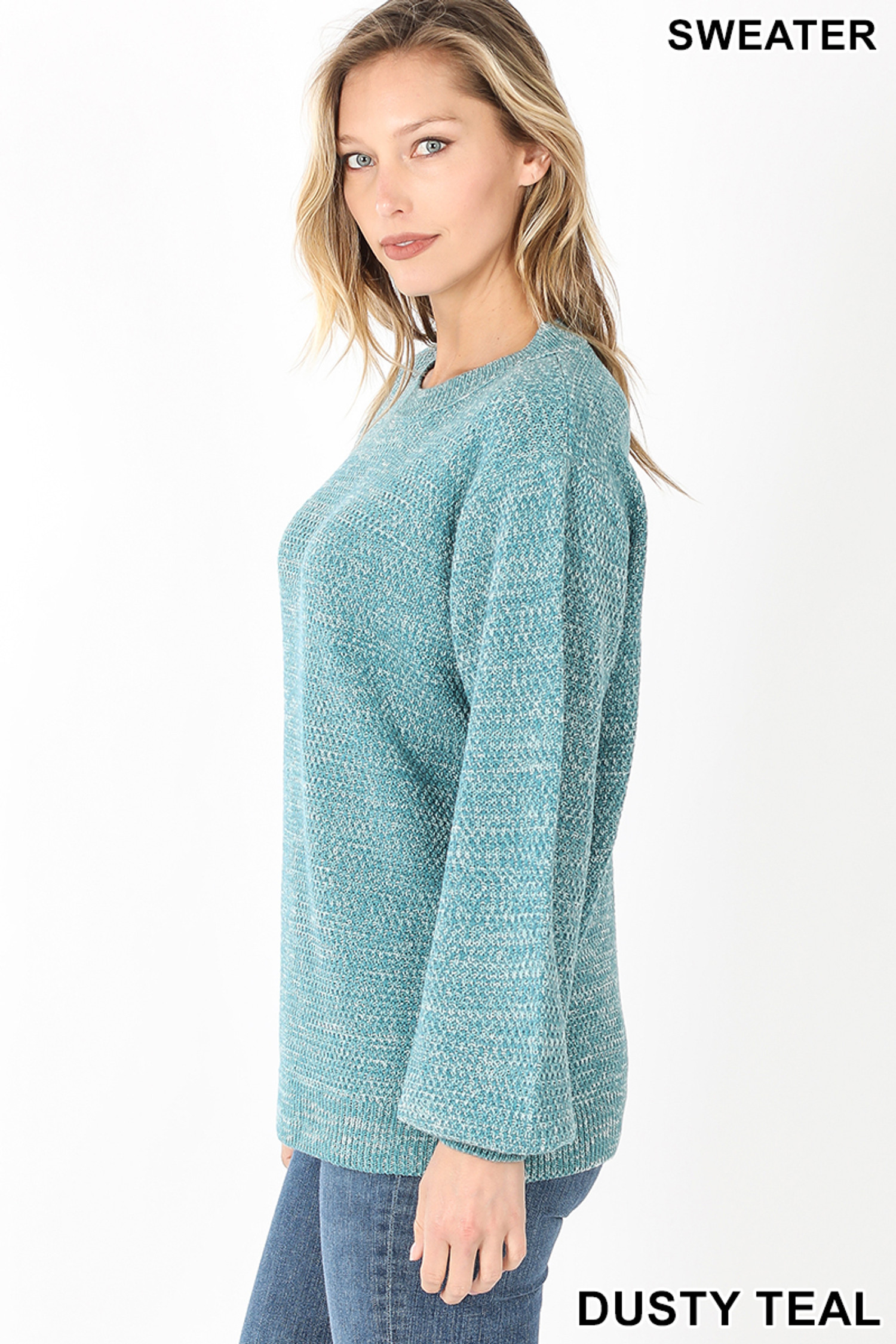 Left side view of Dusty Teal Balloon Sleeve Melange Sweater