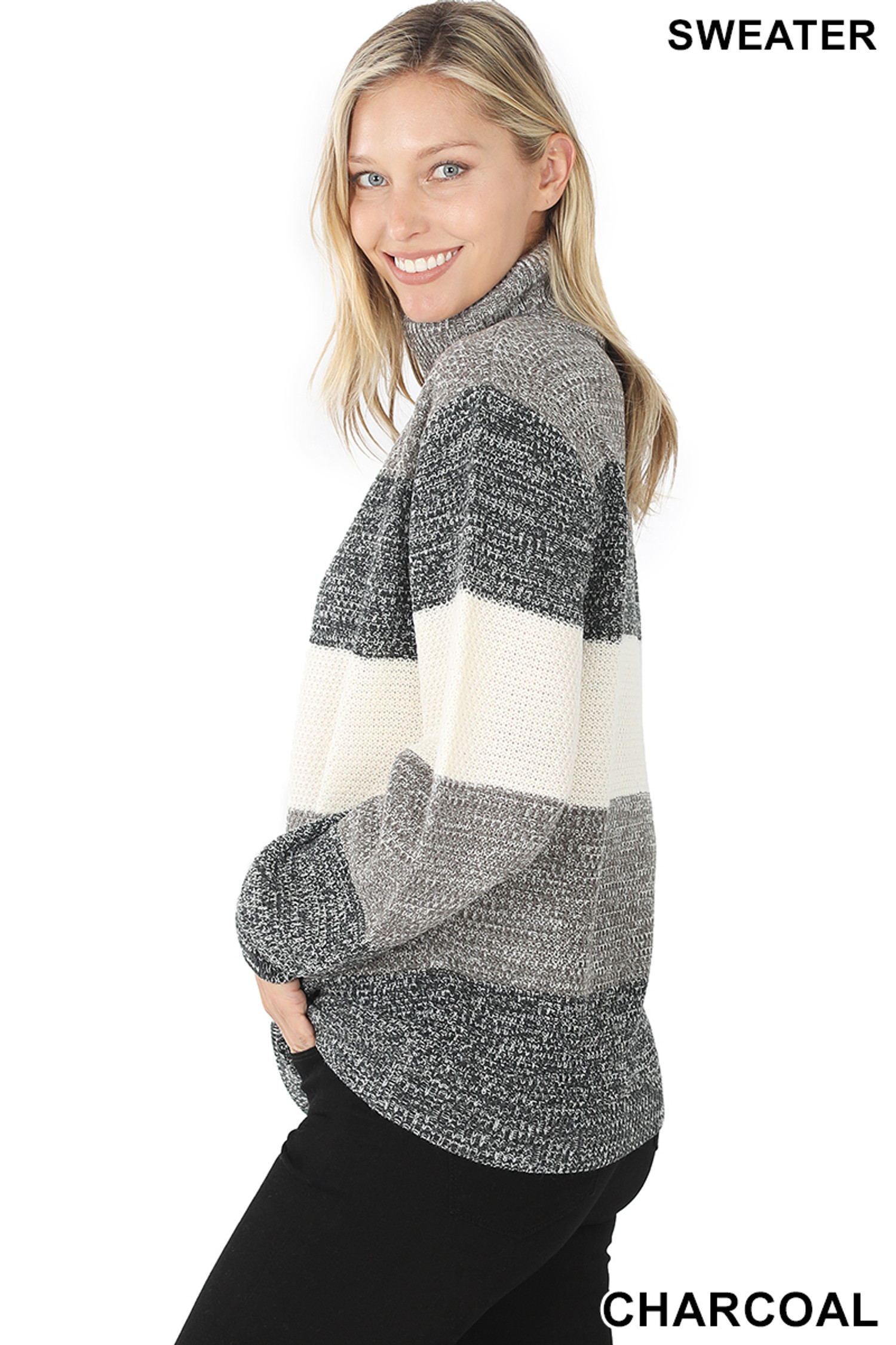Side image of Charcoal Color Block Striped Turtle Neck Balloon Sleeve Sweater