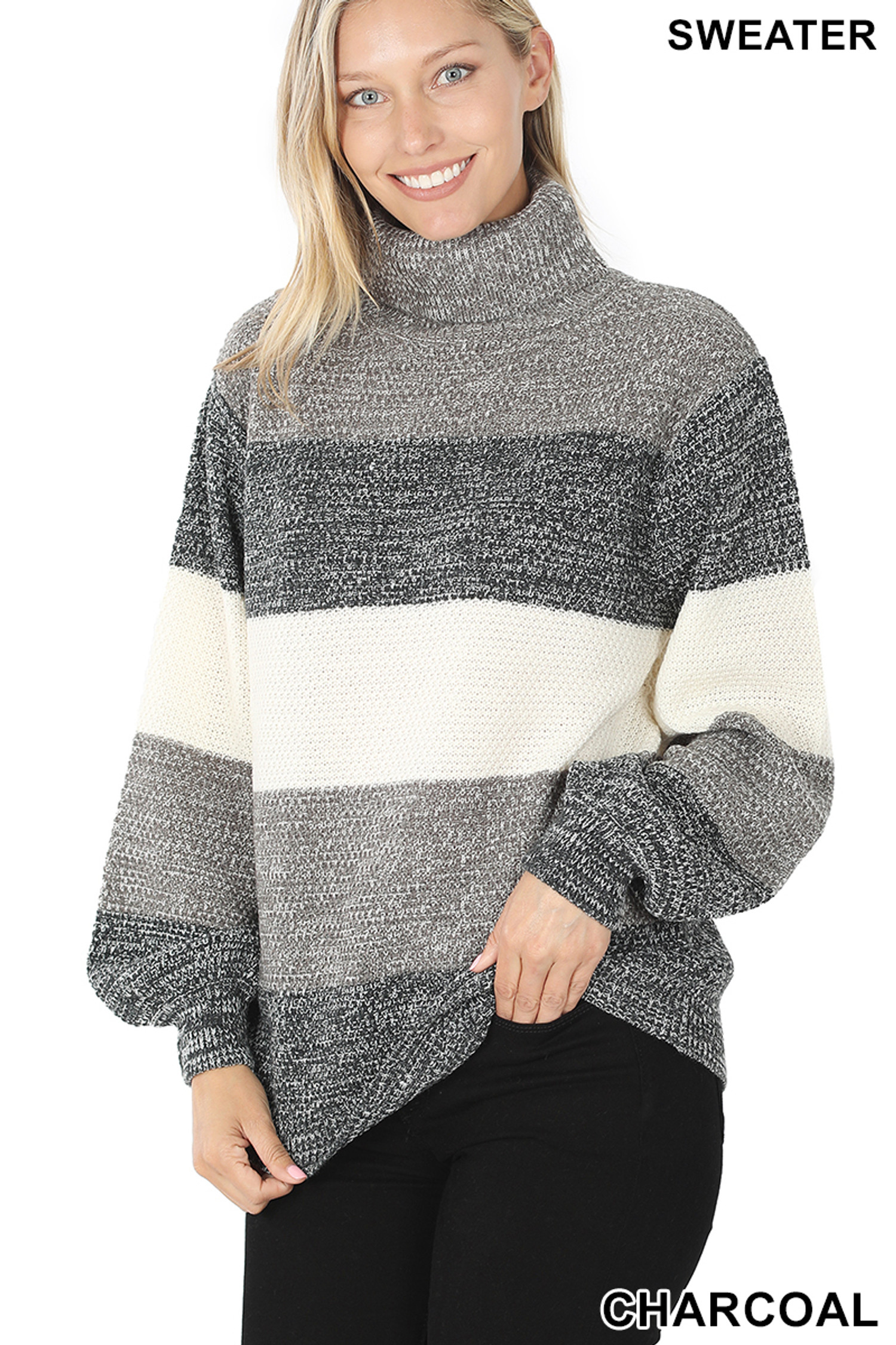 45 degree left side image of Charcoal Color Block Striped Turtle Neck Balloon Sleeve Sweater