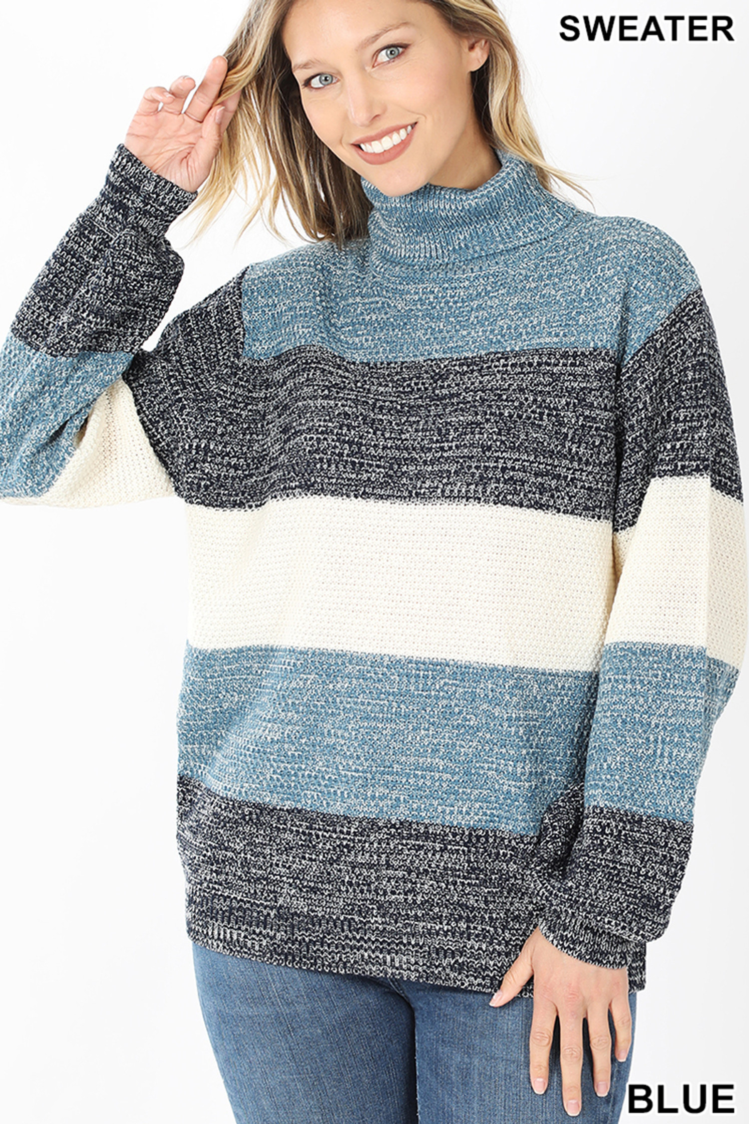 Front image of Blue Color Block Striped Turtle Neck Balloon Sleeve Sweater