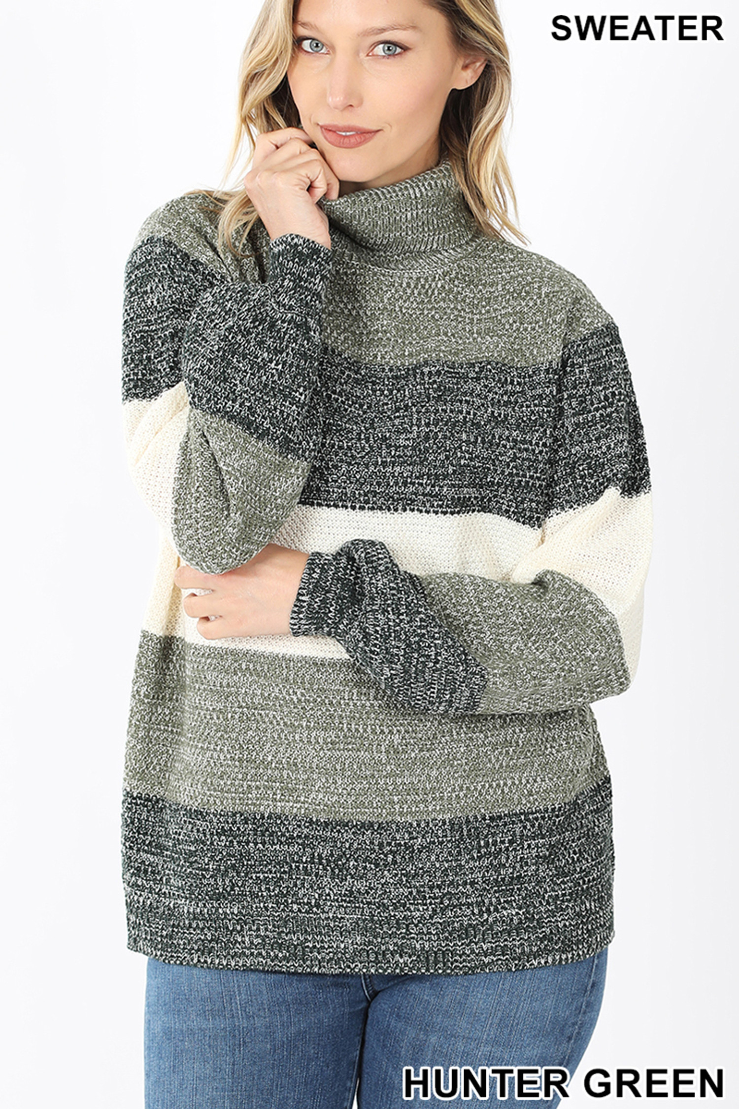 Front image of Hunter Green Color Block Striped Turtle Neck Balloon Sleeve Sweater