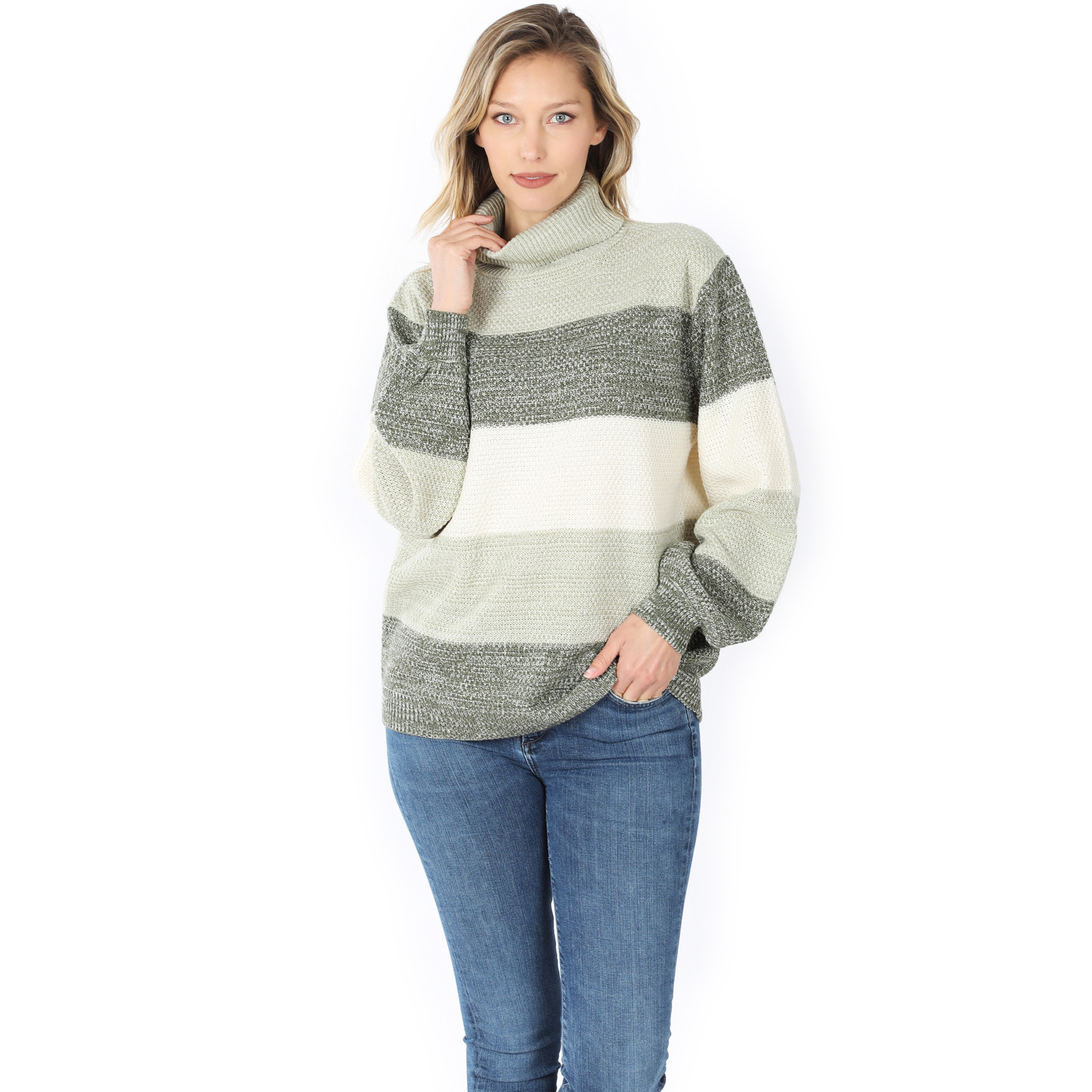 Front of Lt Olive Color Block Striped Turtle Neck Balloon Sleeve Sweater