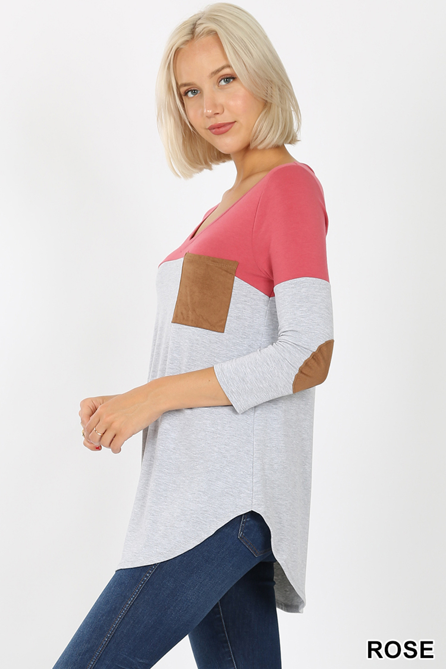 Left side view of Rose Color Block V-Neck 3/4 Sleeve Top with Front Pocket