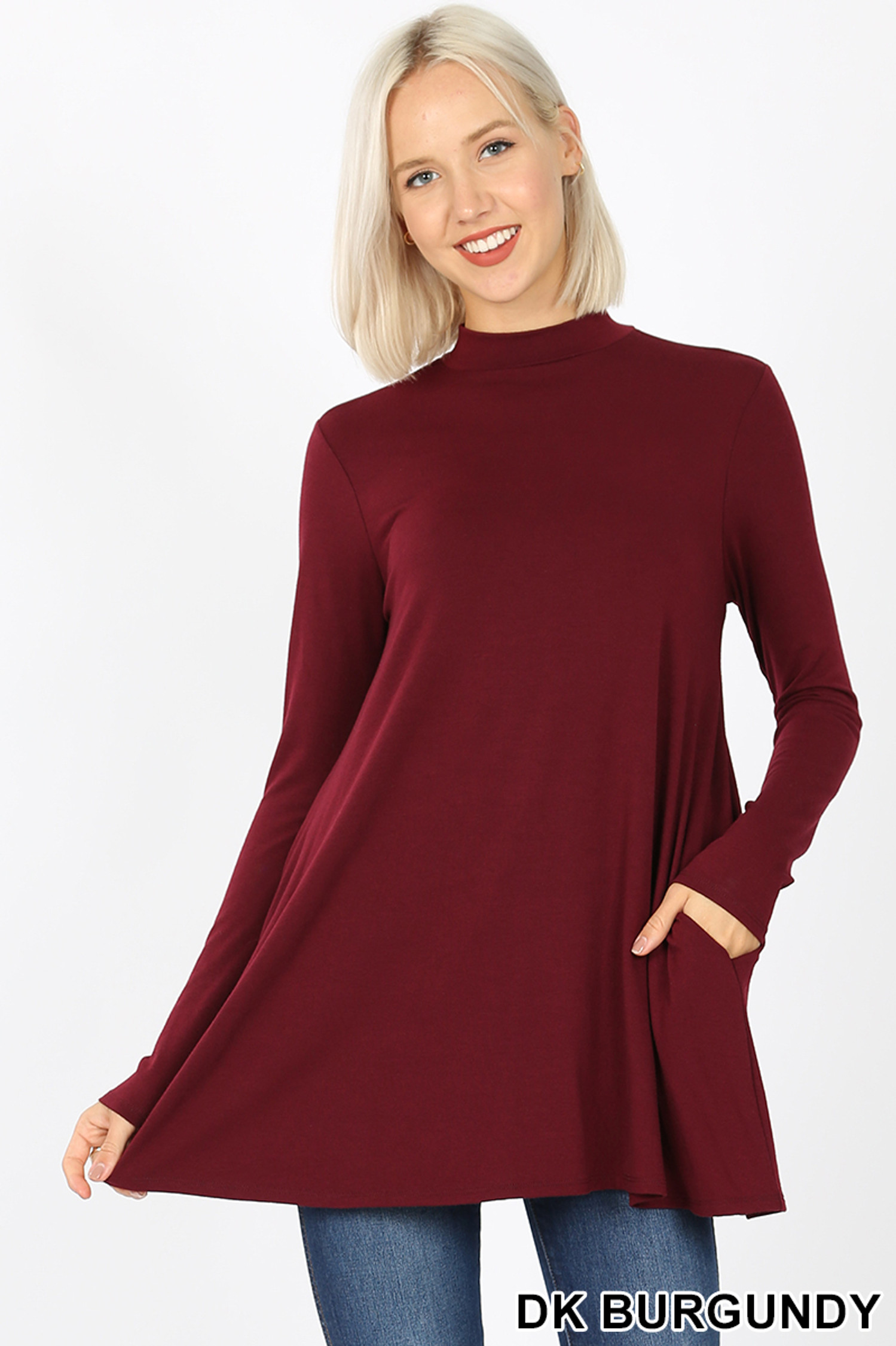 Front image of Dk Burgundy Long Sleeve Mock Neck Top with Pockets