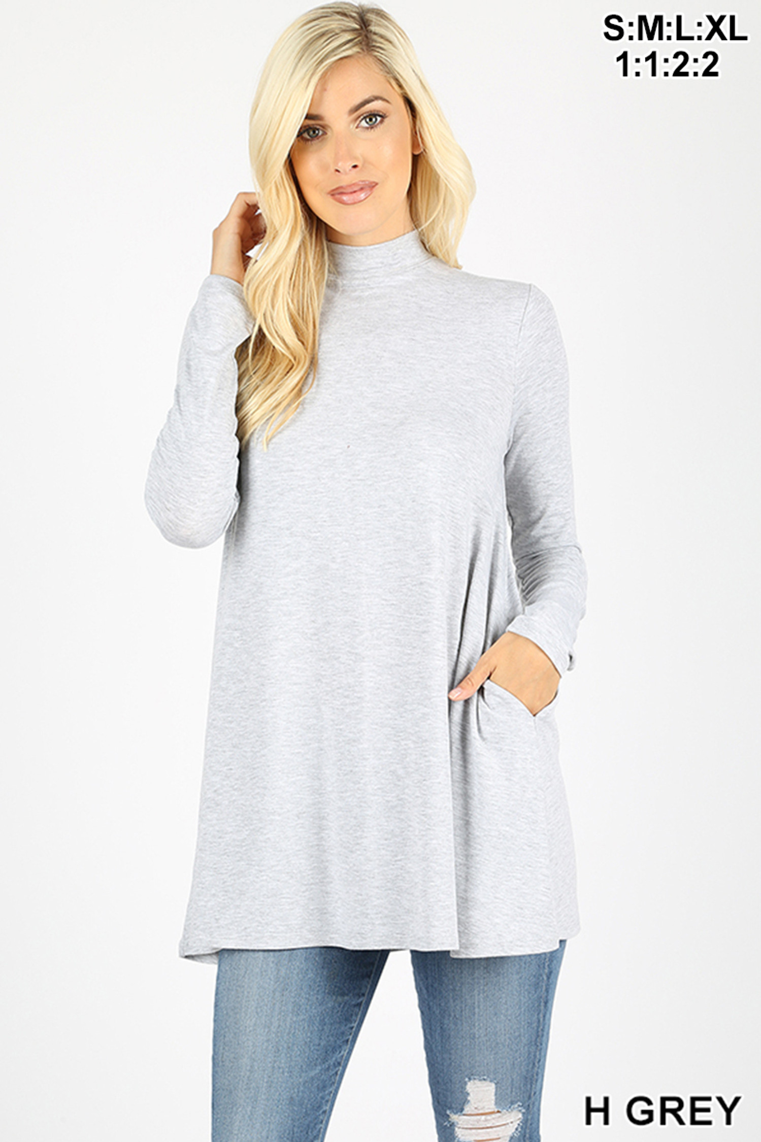 Front image of Heather Grey Long Sleeve Mock Neck Top with Pockets