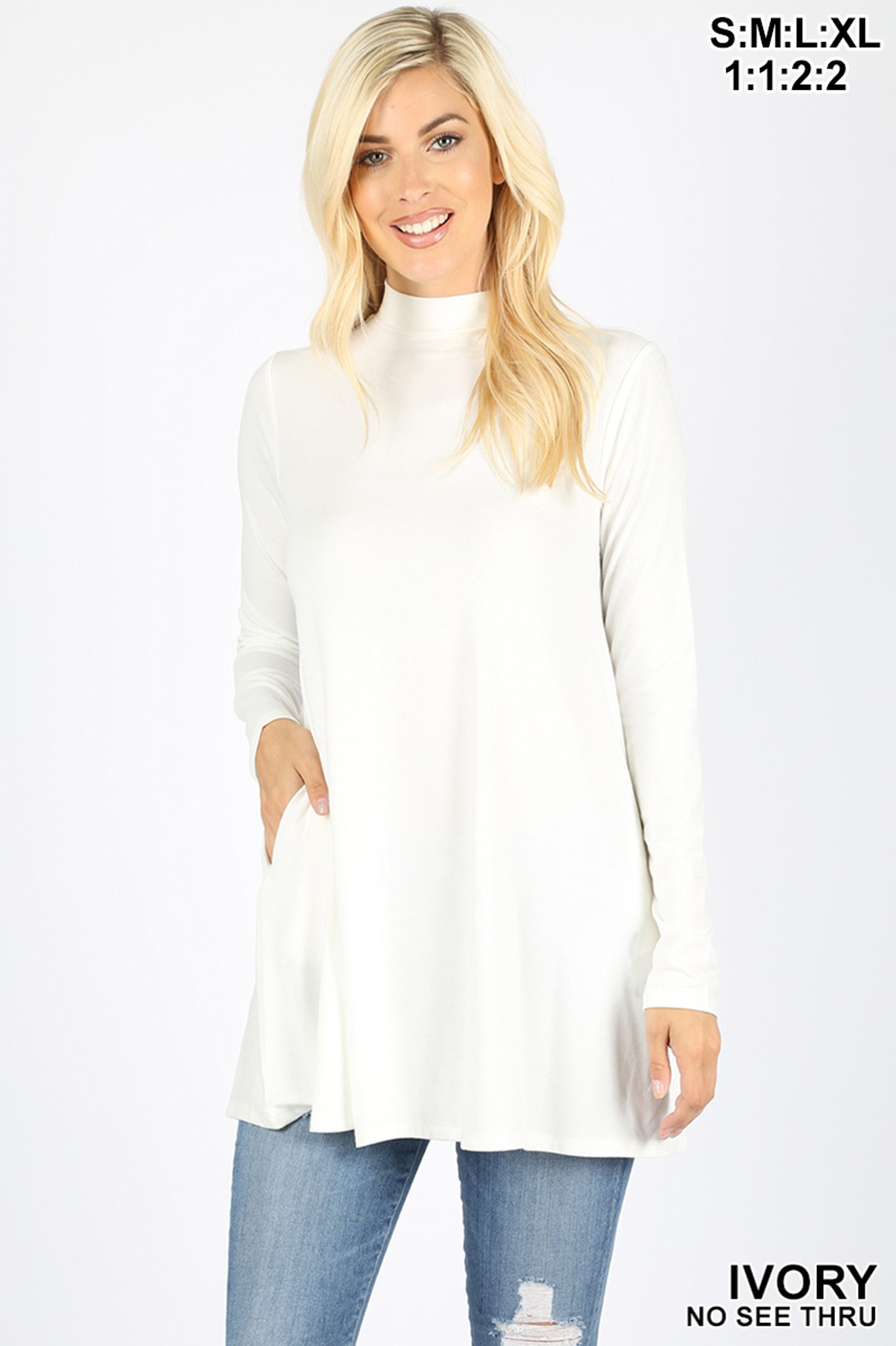 Front image of Ivory Long Sleeve Mock Neck Top with Pockets