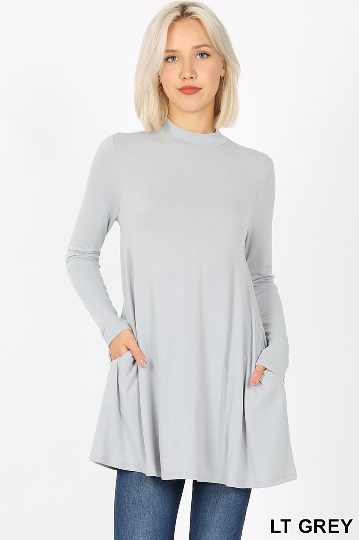 Front image of Lt Grey Long Sleeve Mock Neck Top with Pockets