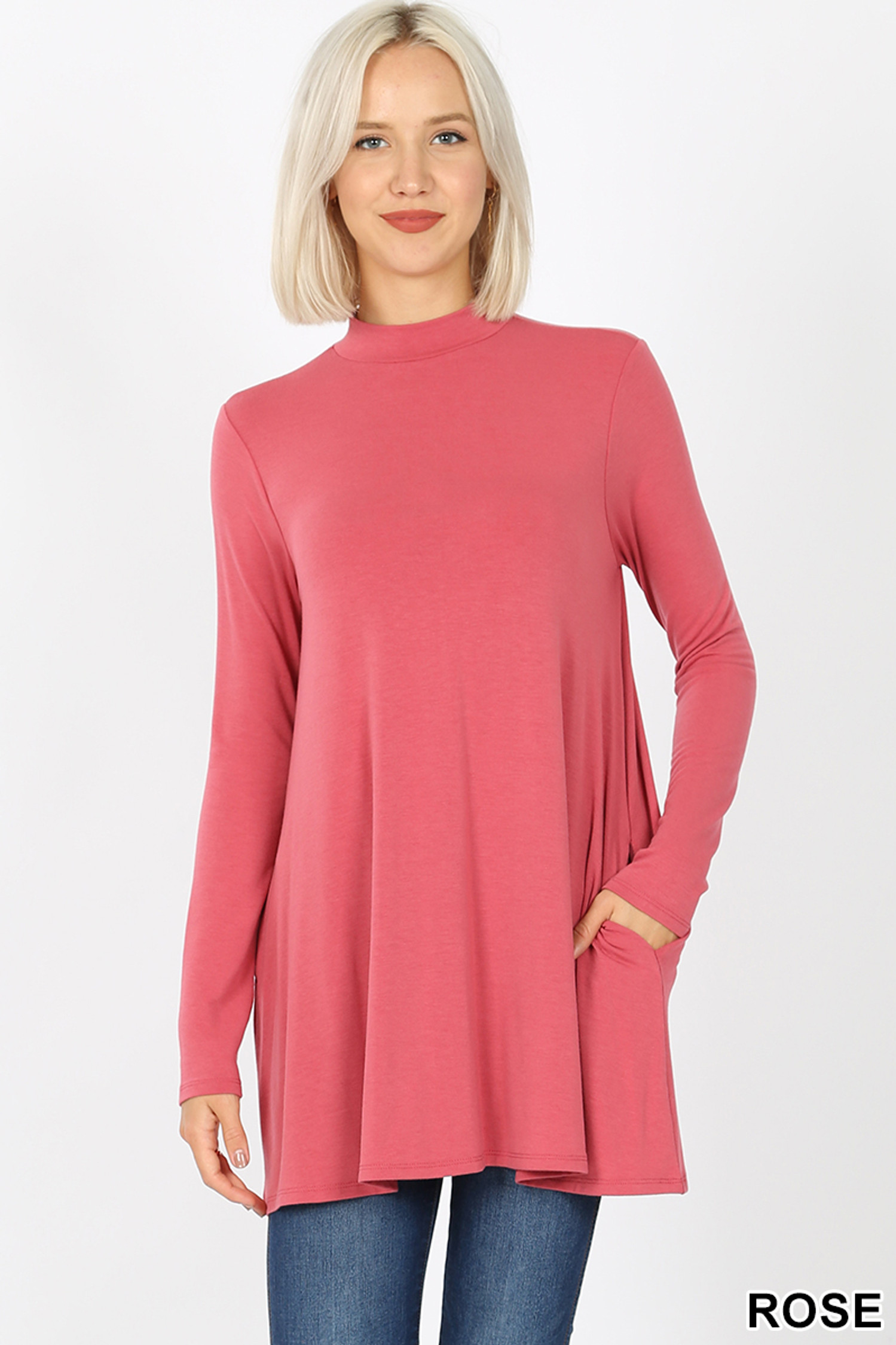 Front image of Rose Long Sleeve Mock Neck Top with Pockets