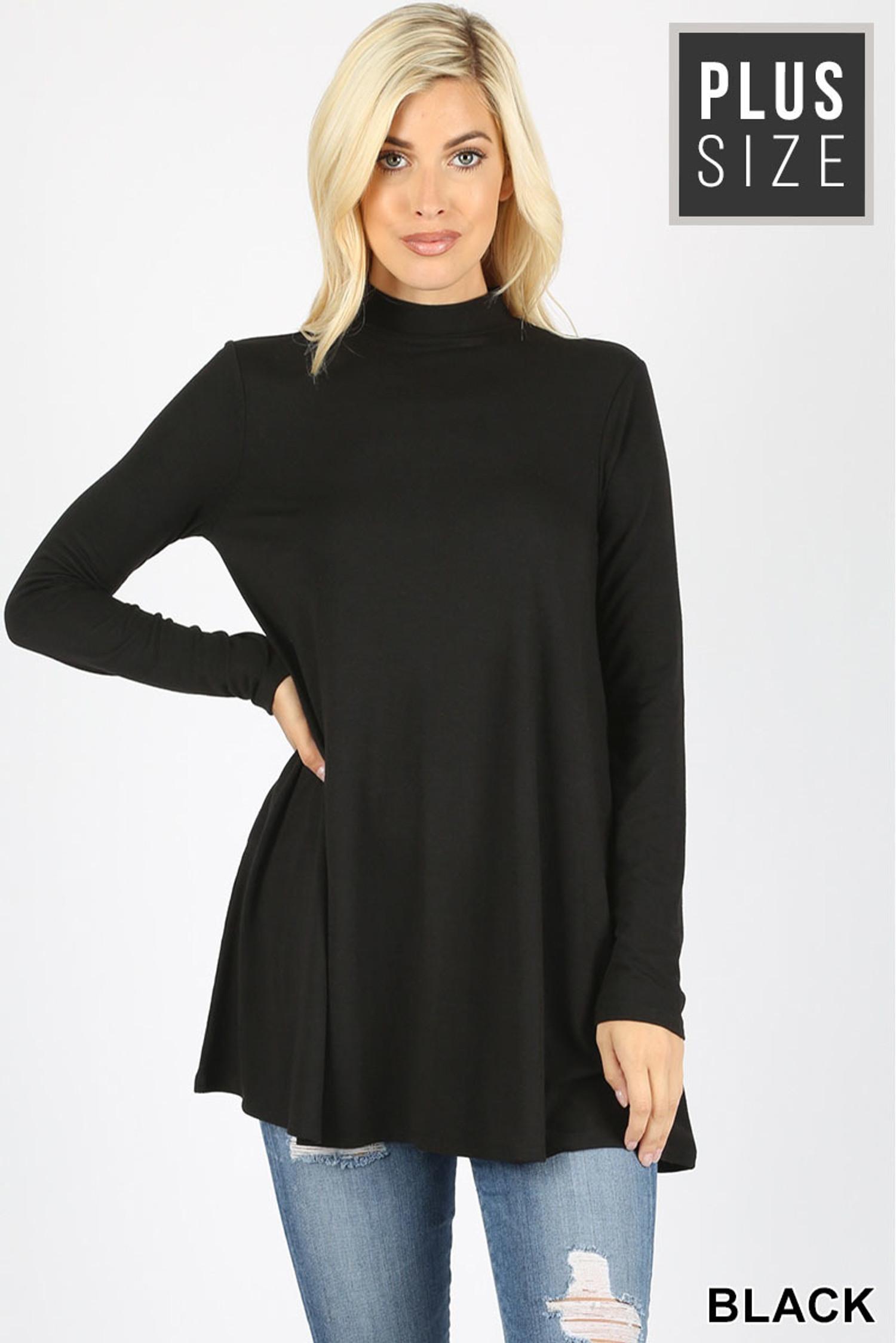 Front image of Black Long Sleeve Mock Neck Plus Size Top
