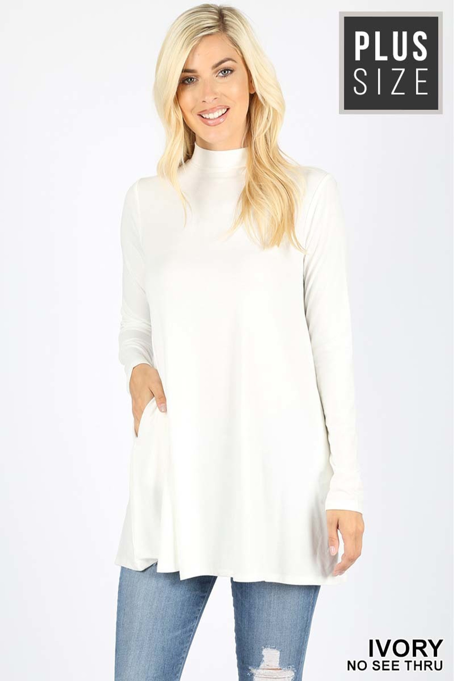 Front image of Ivory Long Sleeve Mock Neck Plus Size Top