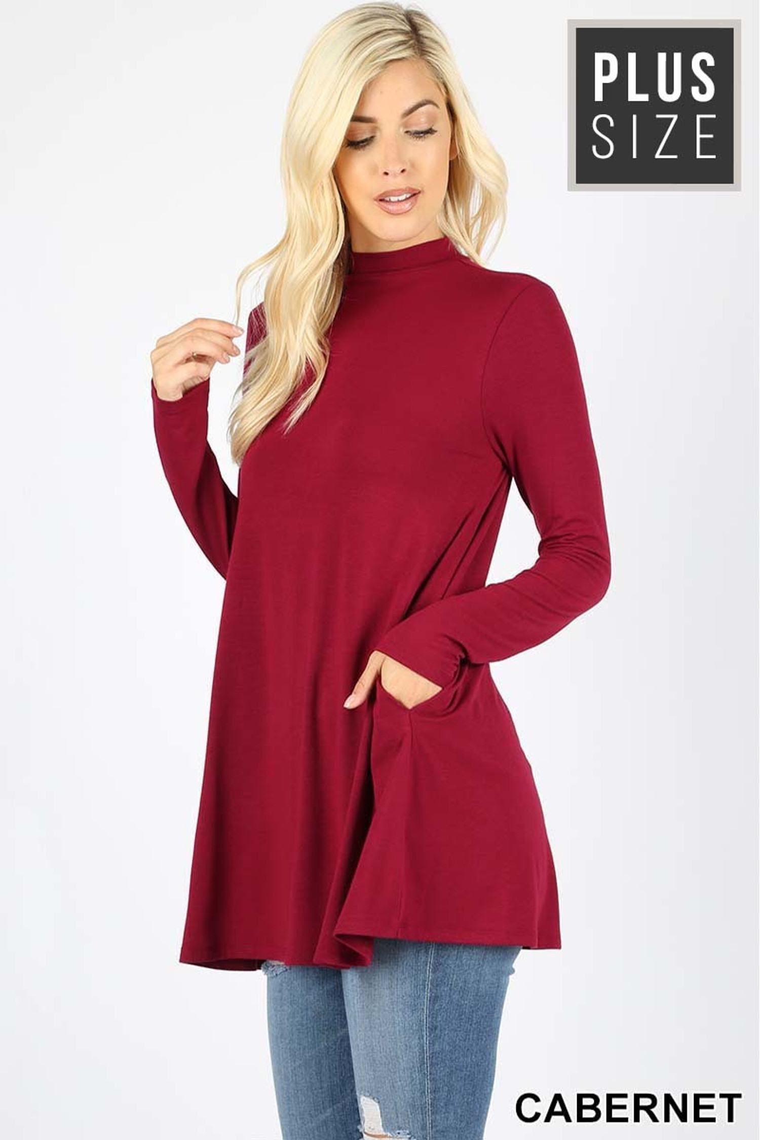Front image of Cabernet Long Sleeve Mock Neck Plus Size Top