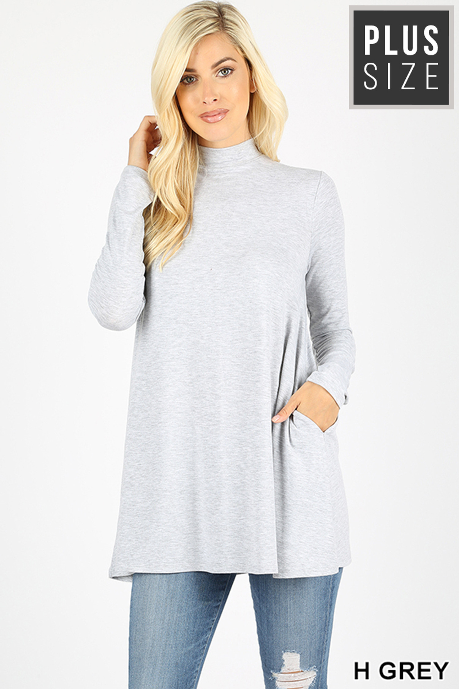 Front image of Heather Grey Long Sleeve Mock Neck Plus Size Top