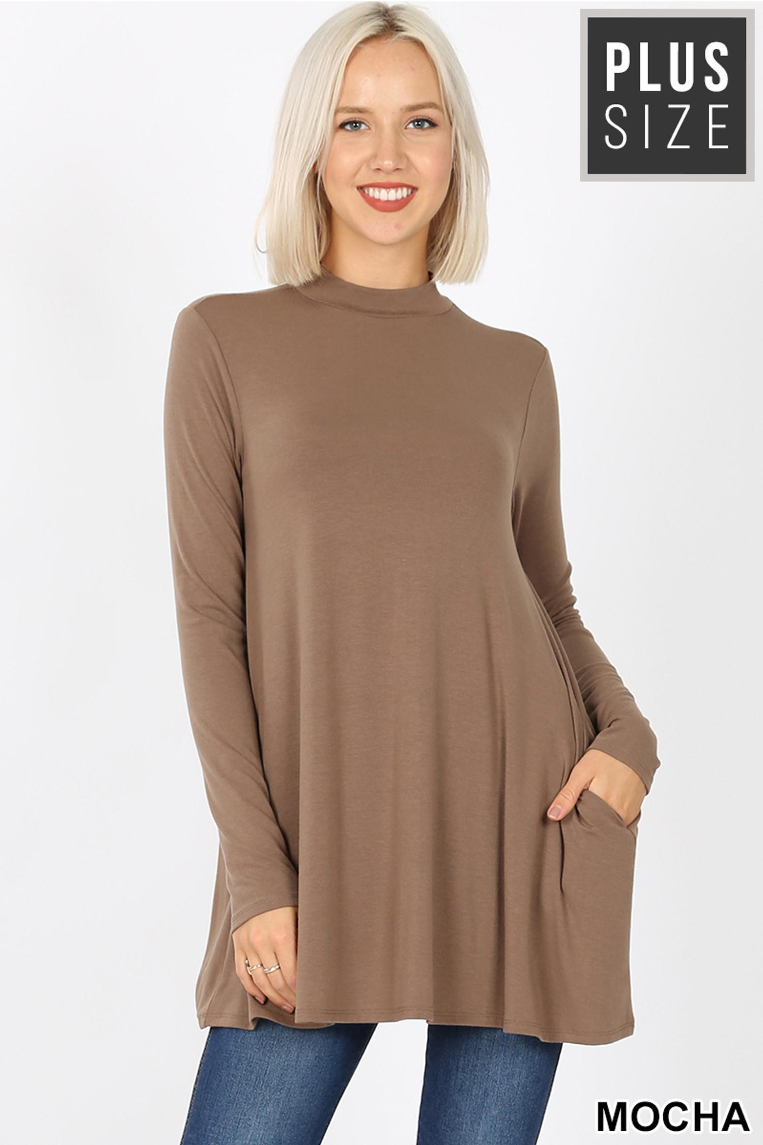 Front image of Mocha Long Sleeve Mock Neck Plus Size Top