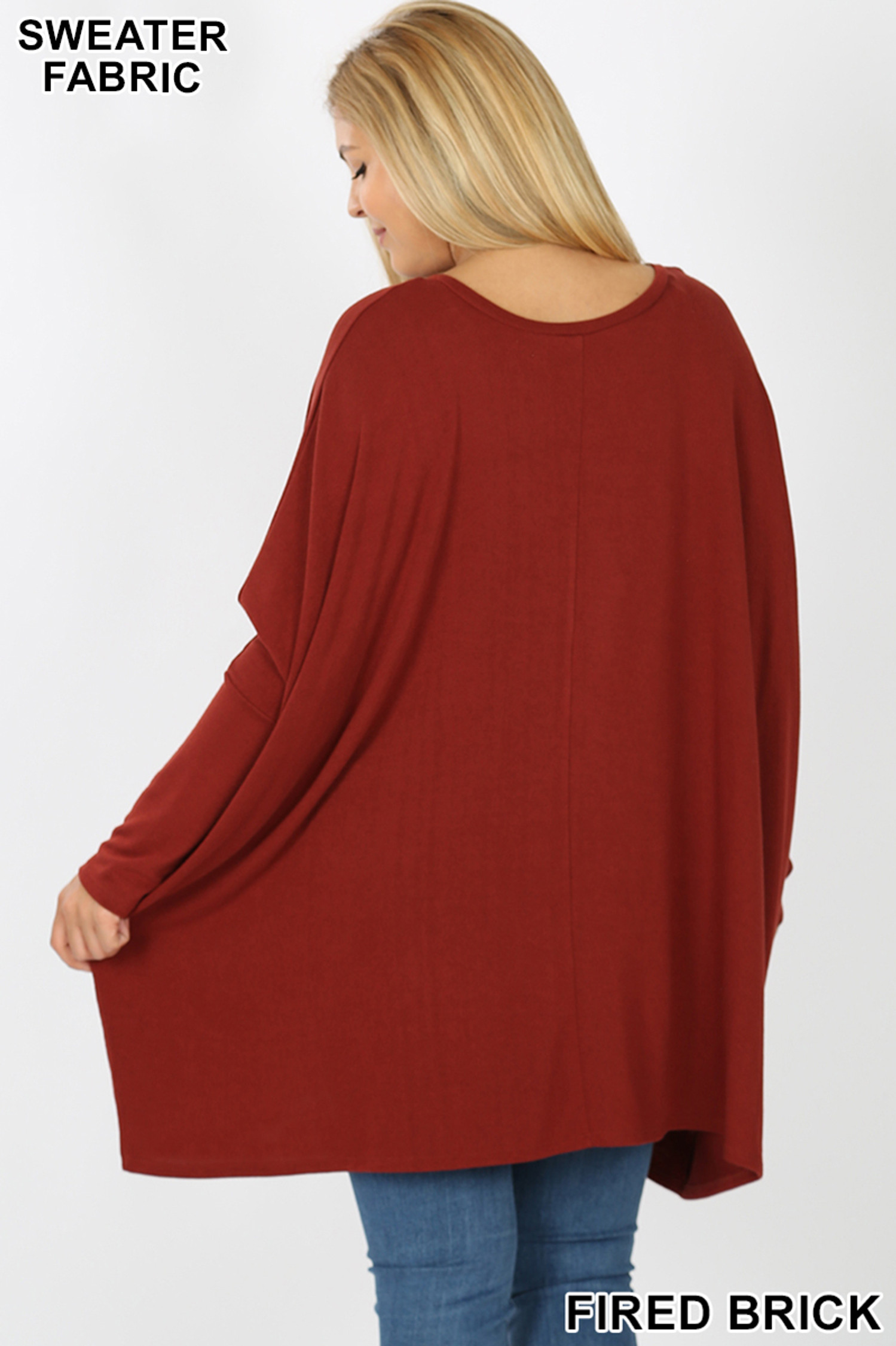 Rear view image of Fired Brick Oversized Round Neck Poncho Plus Size Sweater