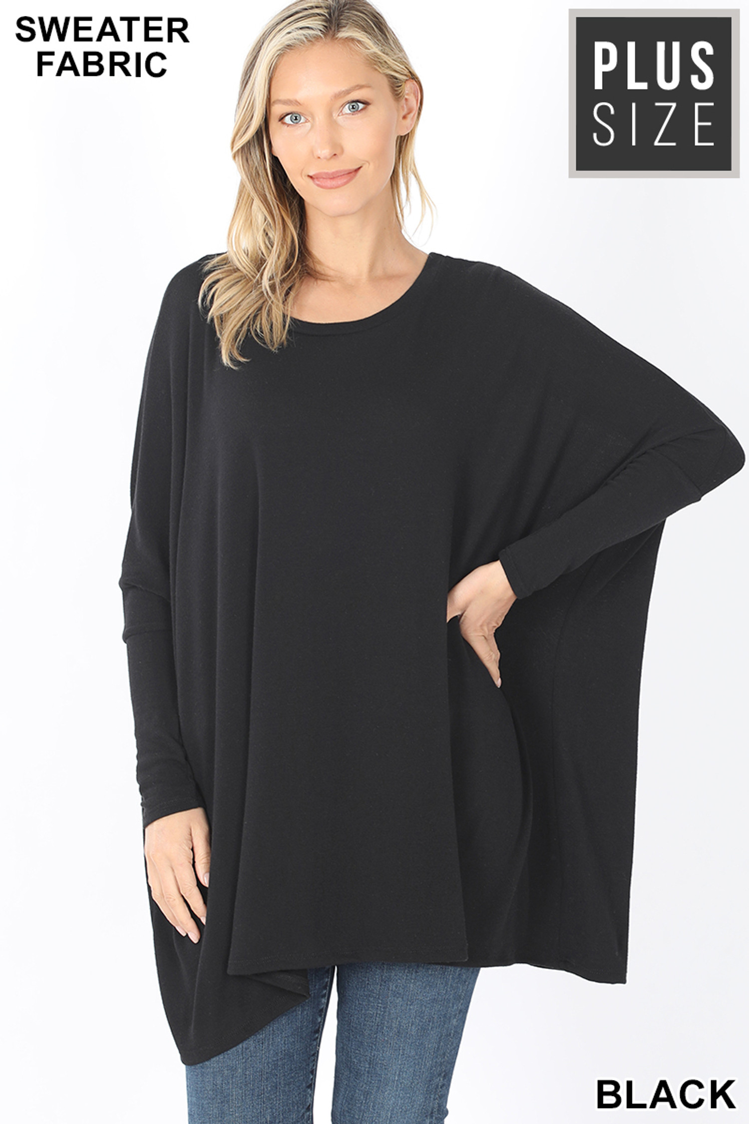 Front view of Black Oversized Round Neck Poncho Plus Size Sweater