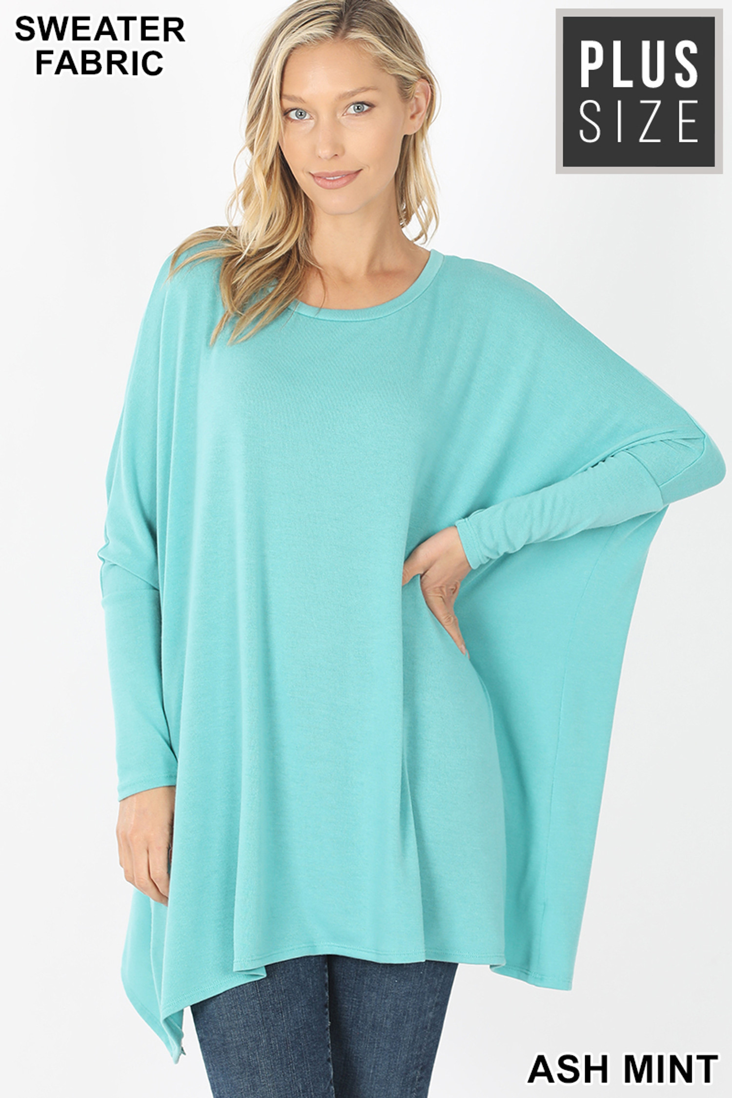 Front view of Ash Mint Oversized Round Neck Poncho Plus Size Sweater