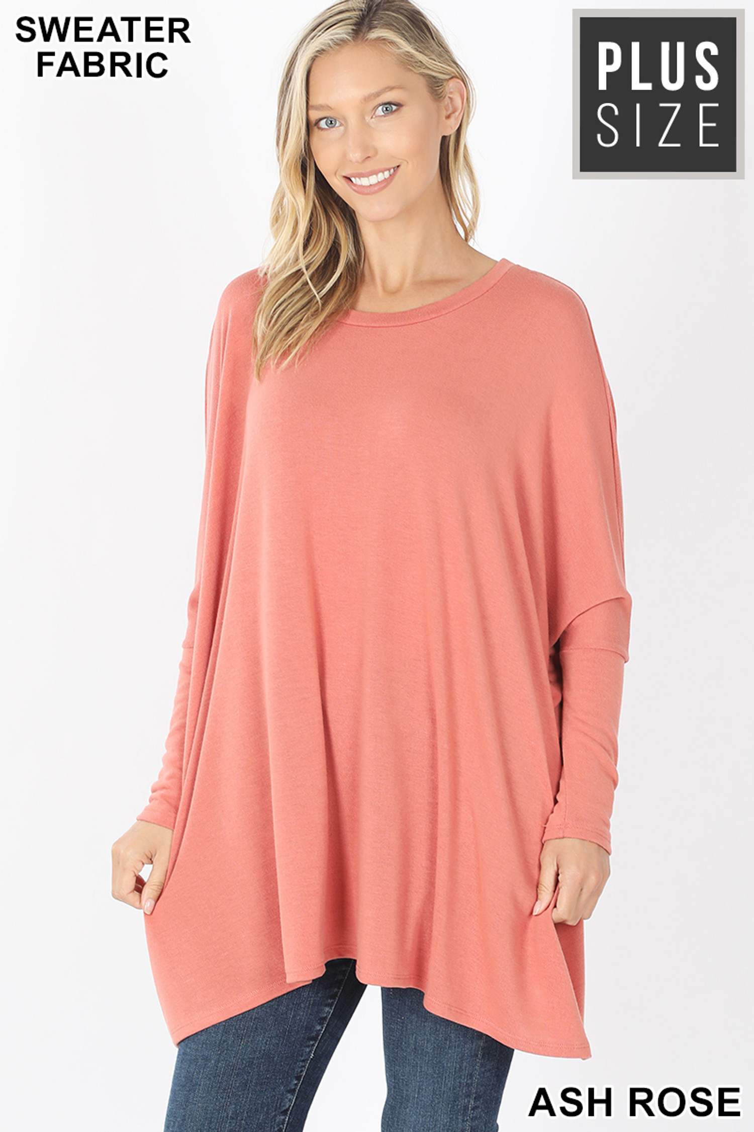 Front view of Ash Rose Oversized Round Neck Poncho Plus Size Sweater