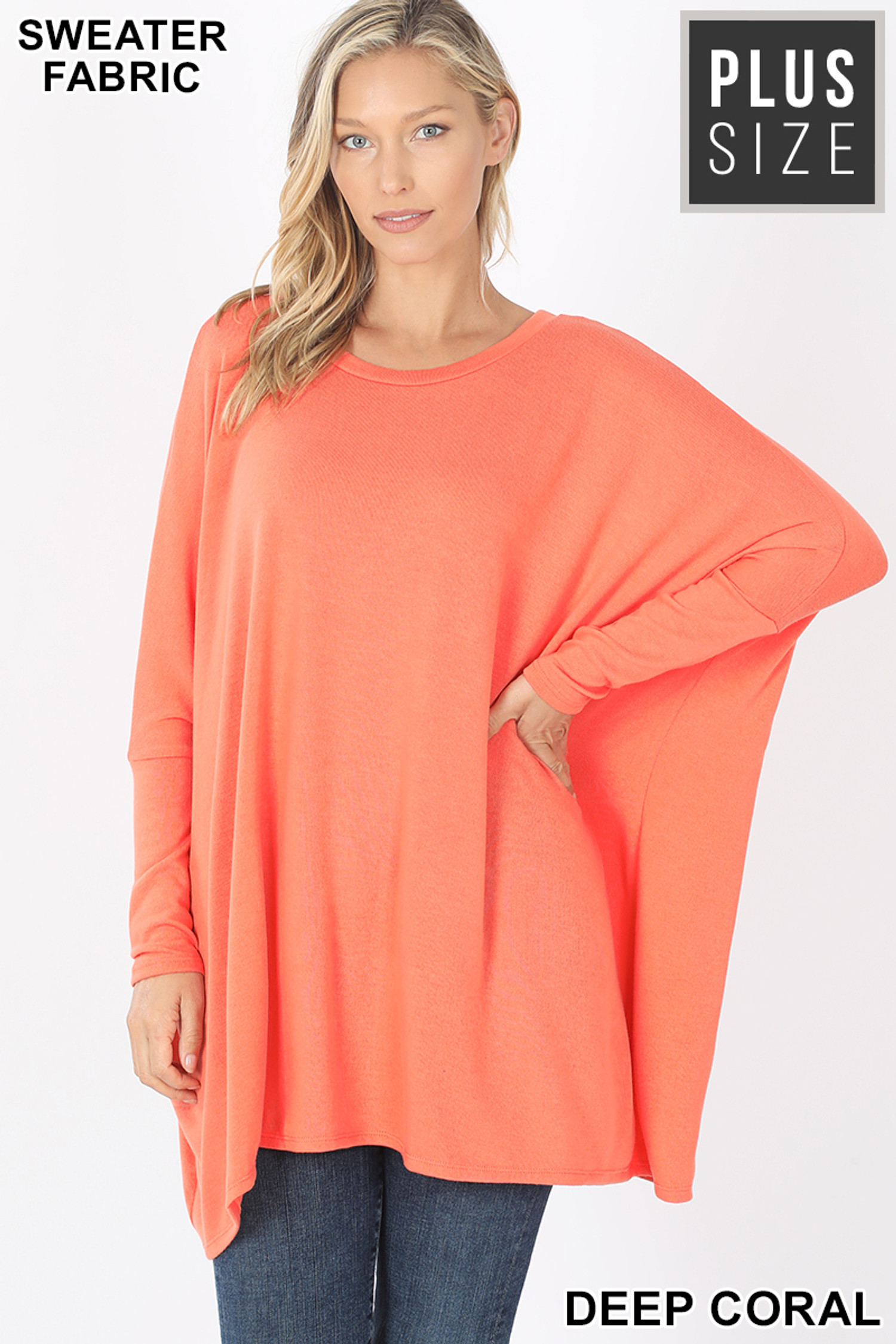 Front view of Deep Coral Oversized Round Neck Poncho Plus Size Sweater