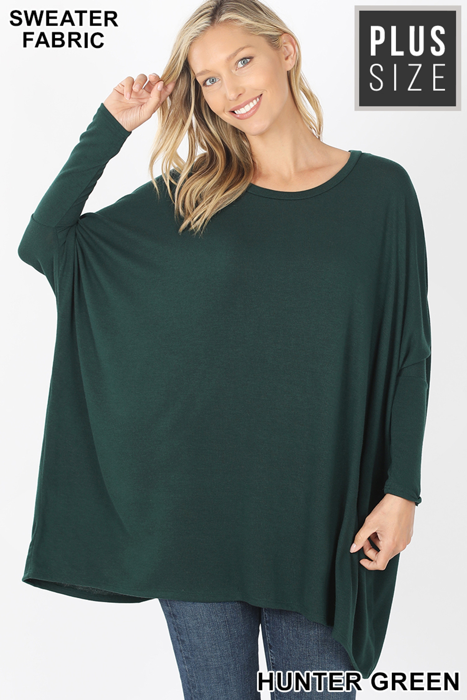 Front view of Hunter Green Oversized Round Neck Poncho Plus Size Sweater